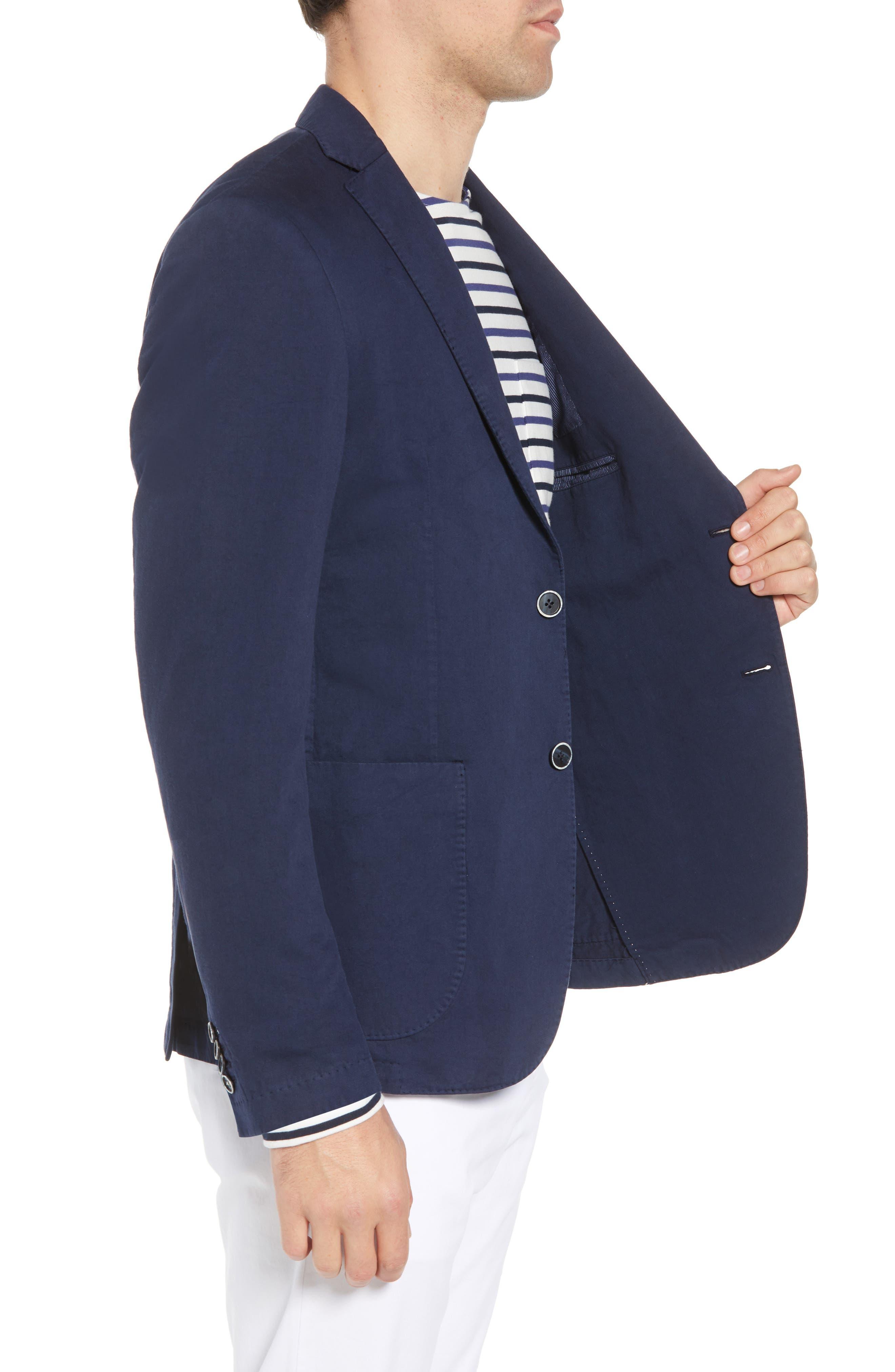 Unstructured Cotton & Linen Blazer,                             Alternate thumbnail 3, color,                             Navy