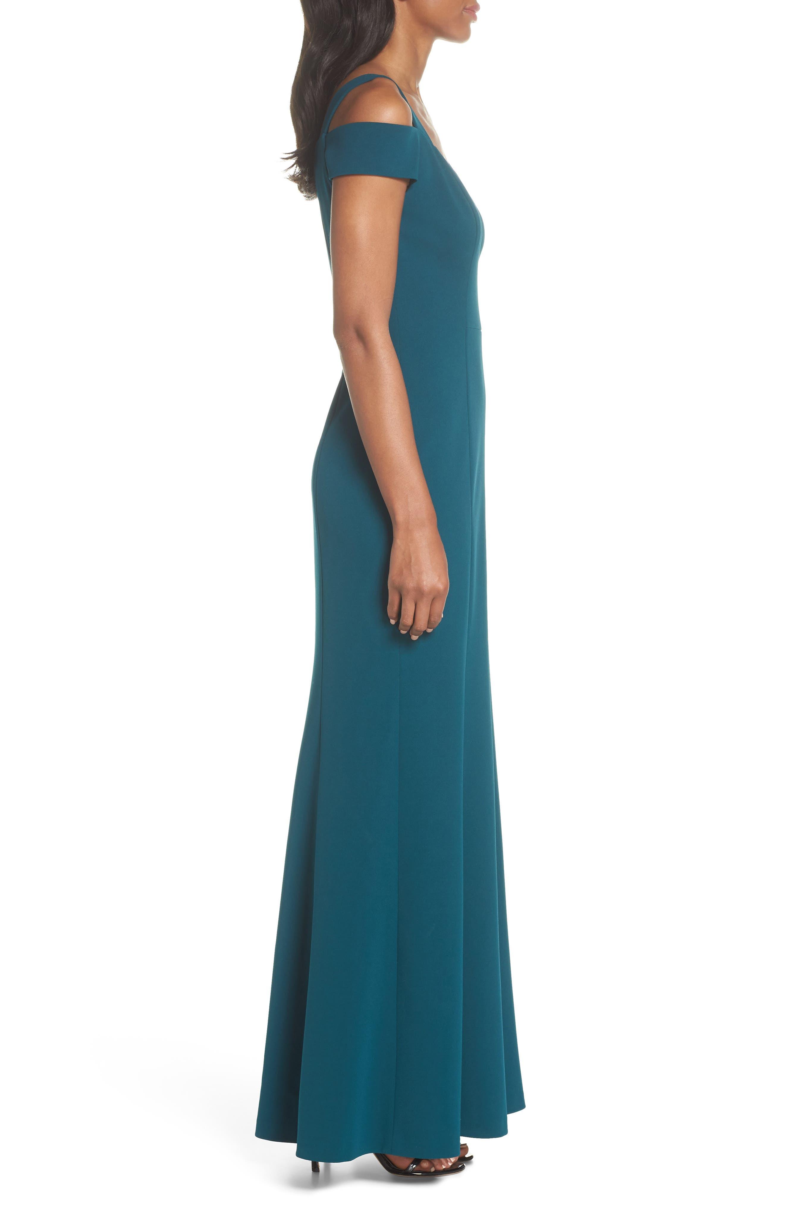 Cold Shoulder Scuba Crepe Trumpet Gown,                             Alternate thumbnail 3, color,                             Emerald
