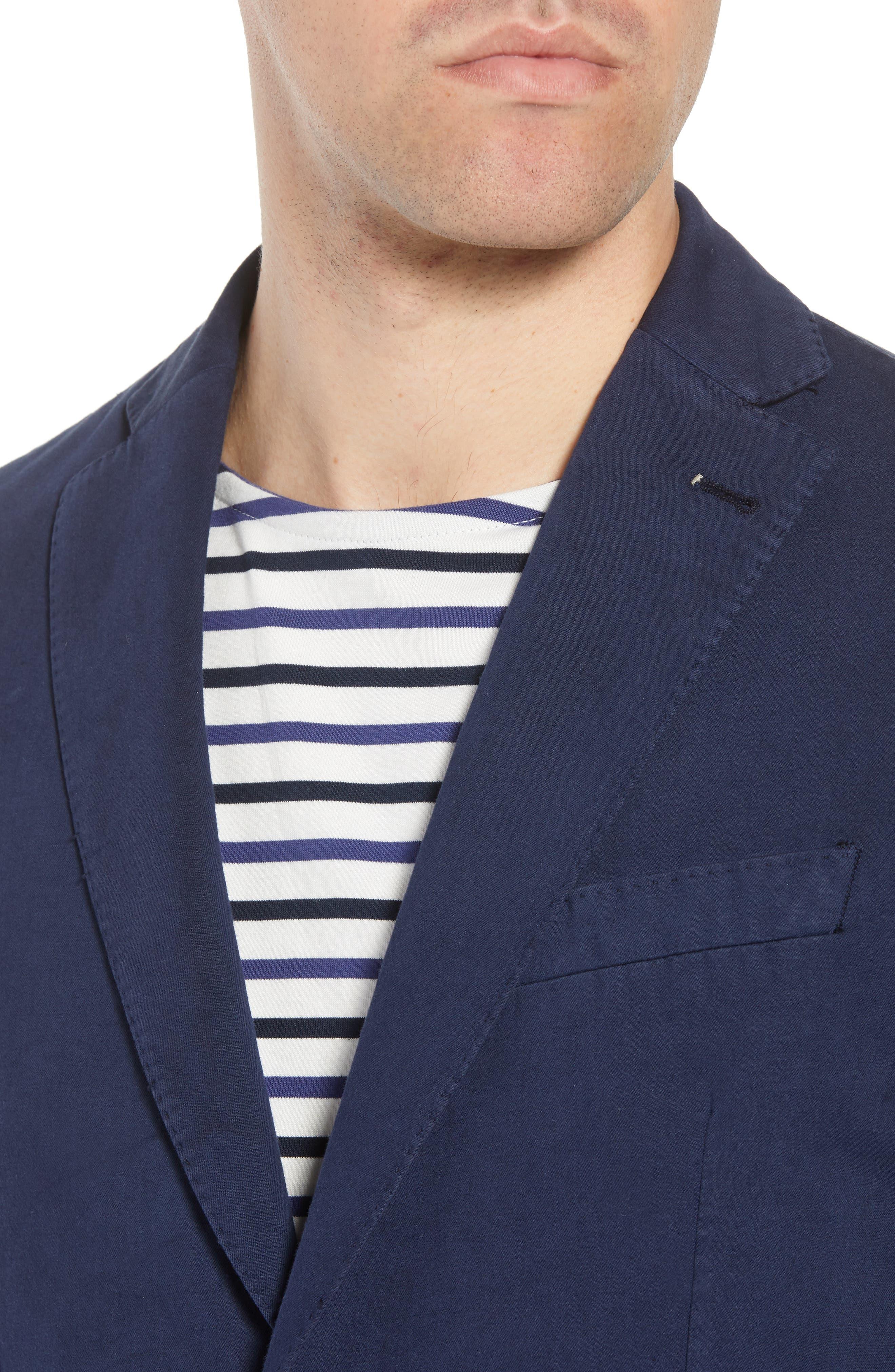 Unstructured Cotton & Linen Blazer,                             Alternate thumbnail 4, color,                             Navy