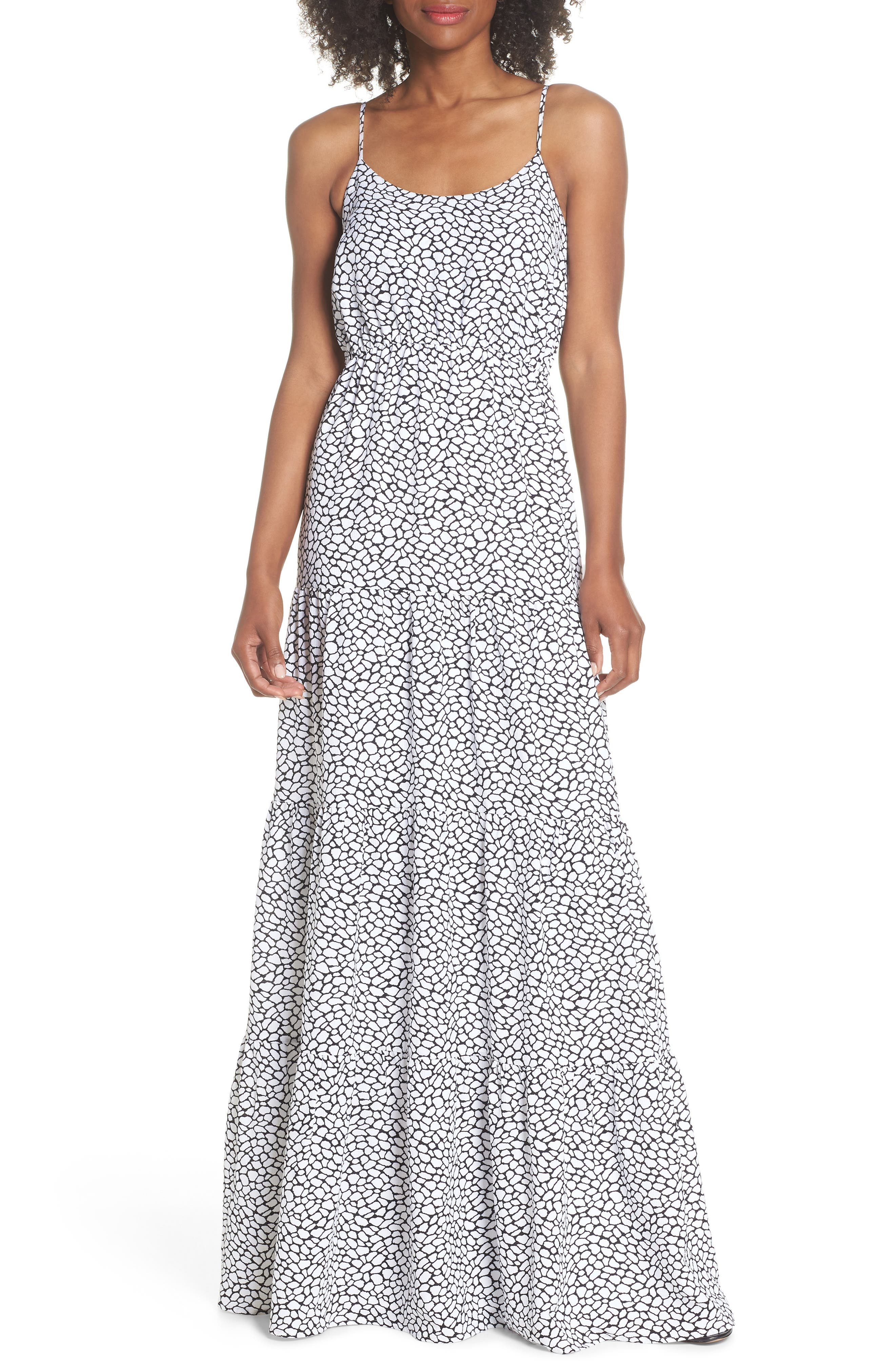 Tiered Maxi Dress,                         Main,                         color, White/ Black
