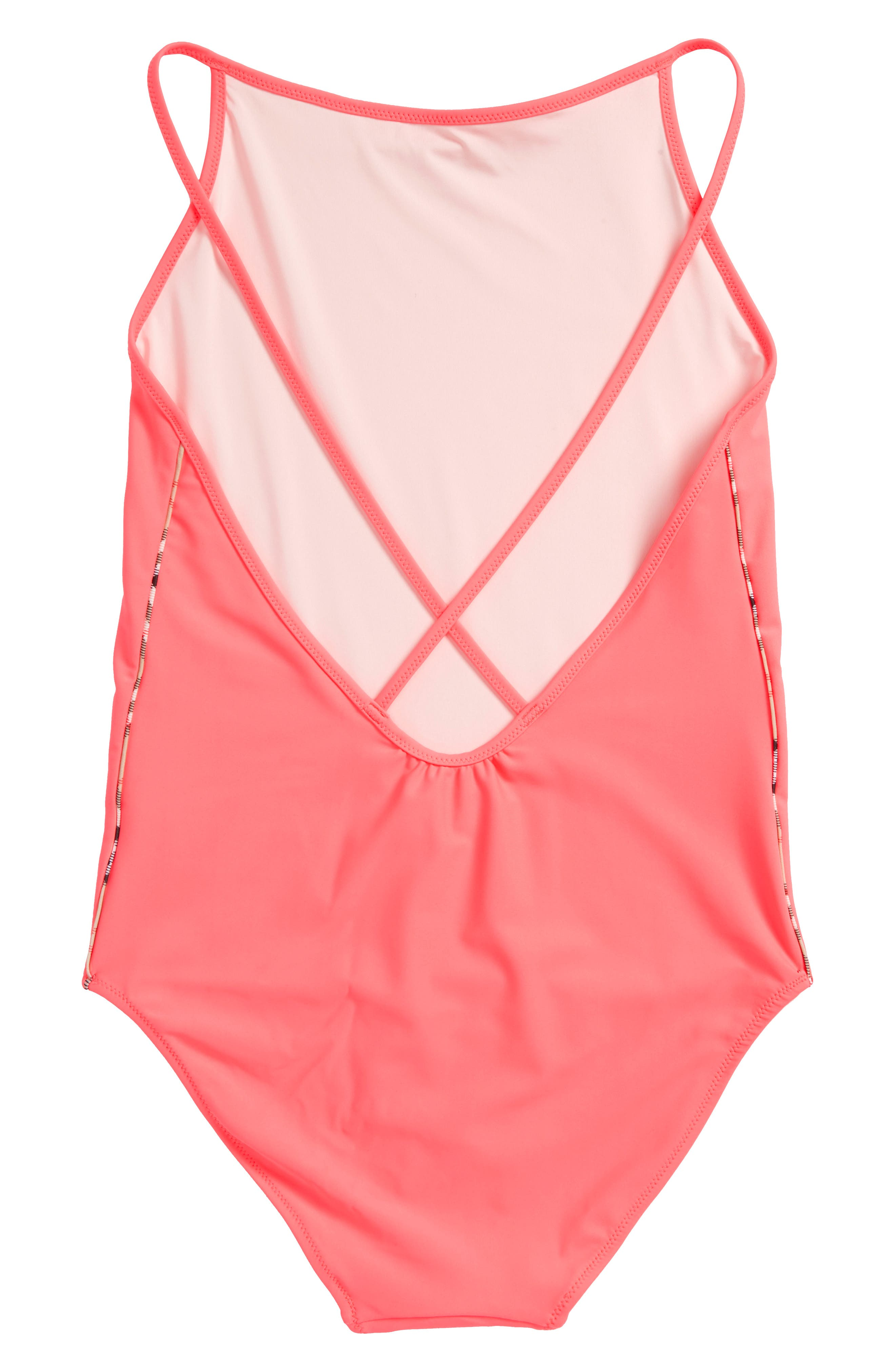 Sandine One-Piece Swimsuit,                             Alternate thumbnail 2, color,                             Bright Coral