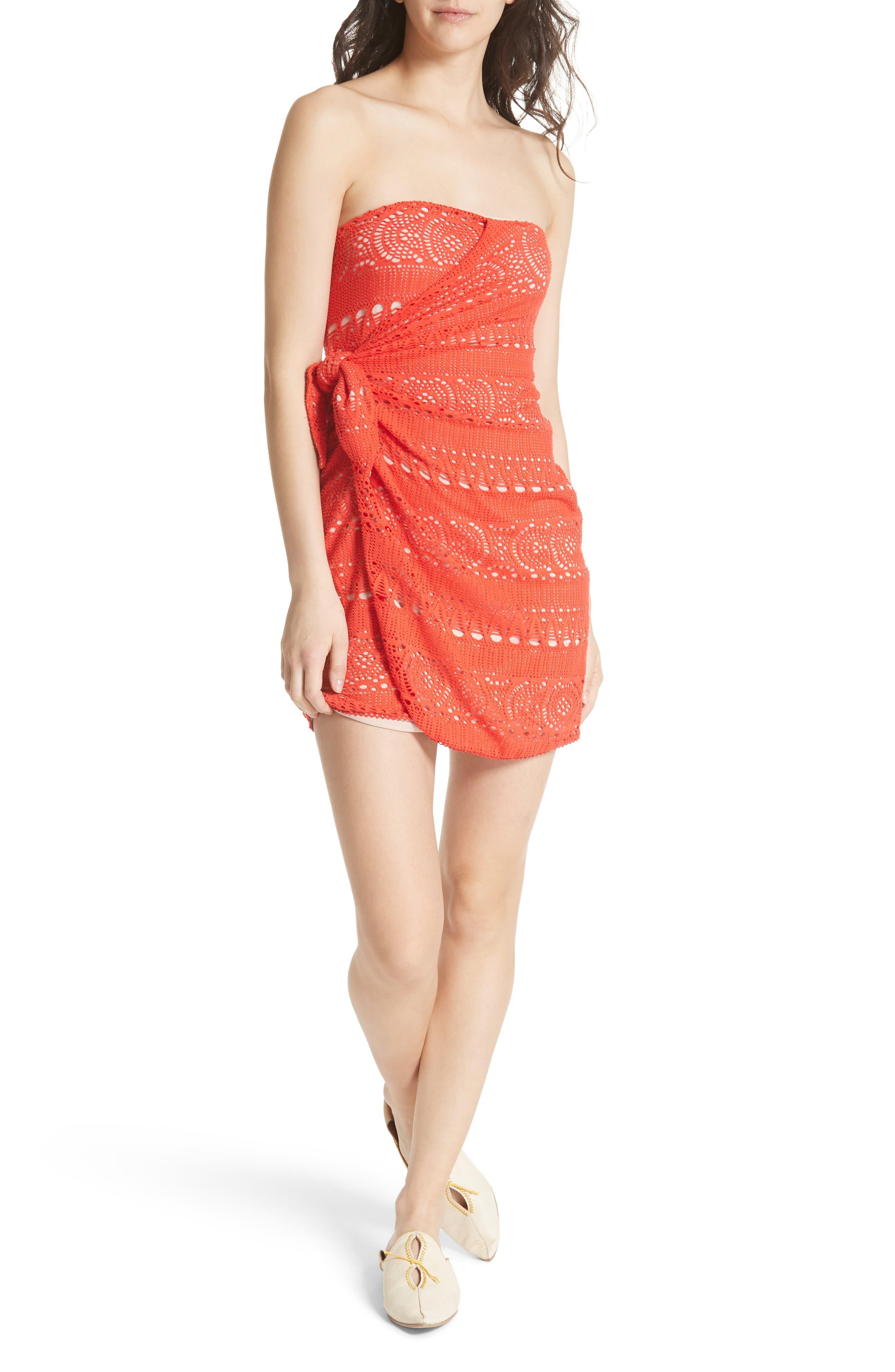 Oceanside Crochet Strapless Minidress,                             Main thumbnail 1, color,                             Red