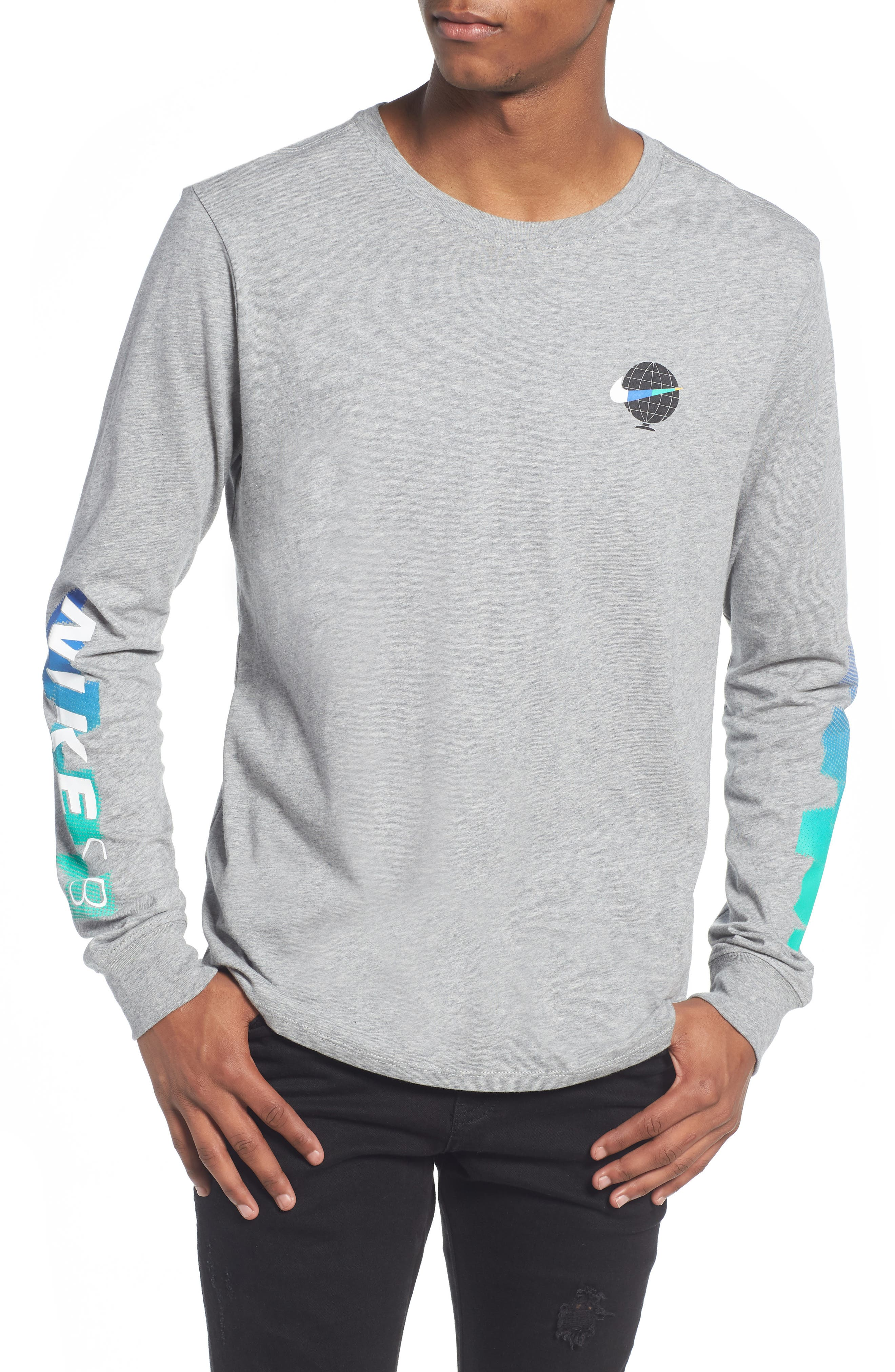 SB Globe Graphic Long Sleeve T-Shirt,                         Main,                         color, Dark Grey Heather