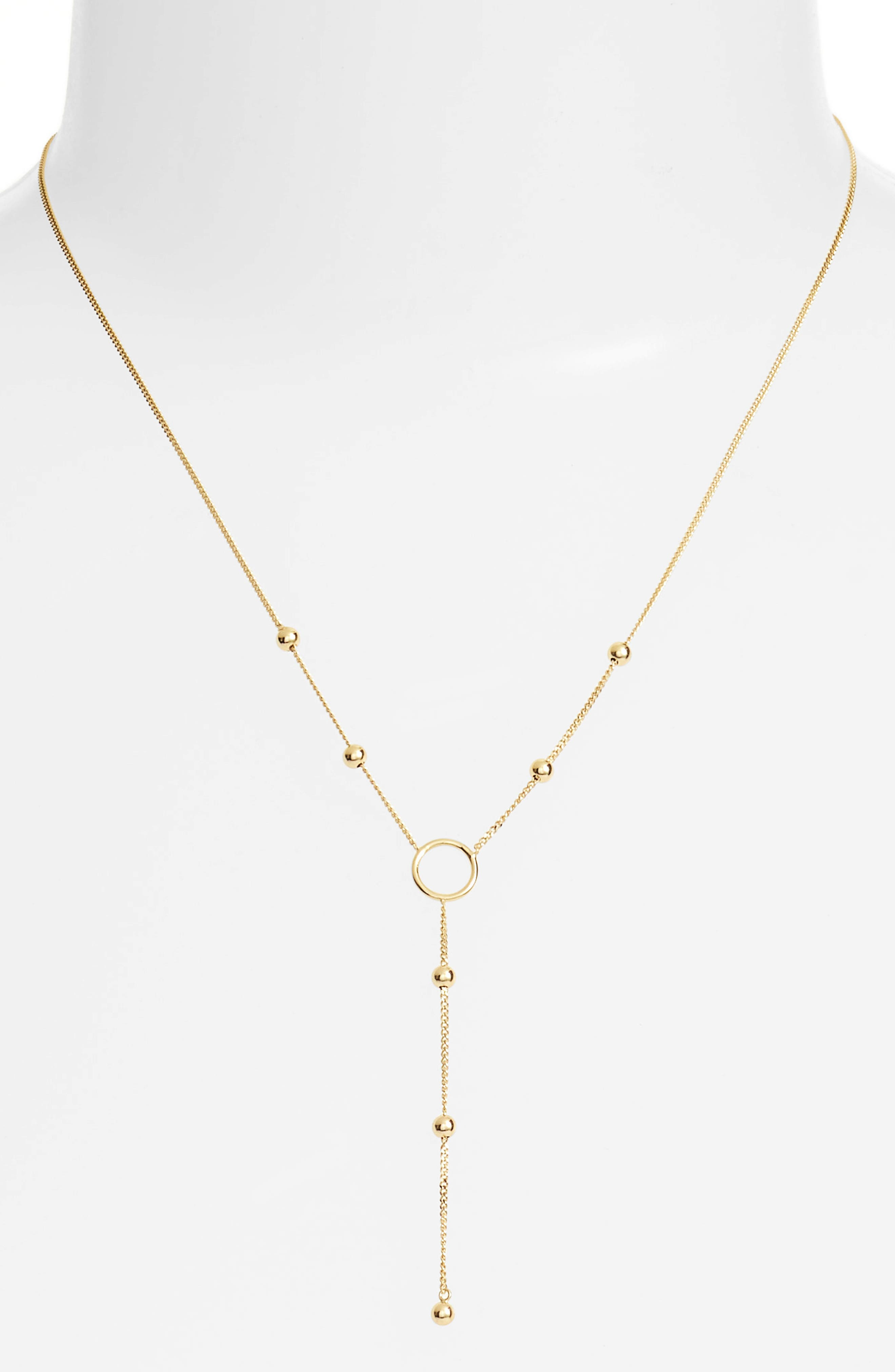 Ava Open Ring Lariat Necklace,                         Main,                         color, Gold