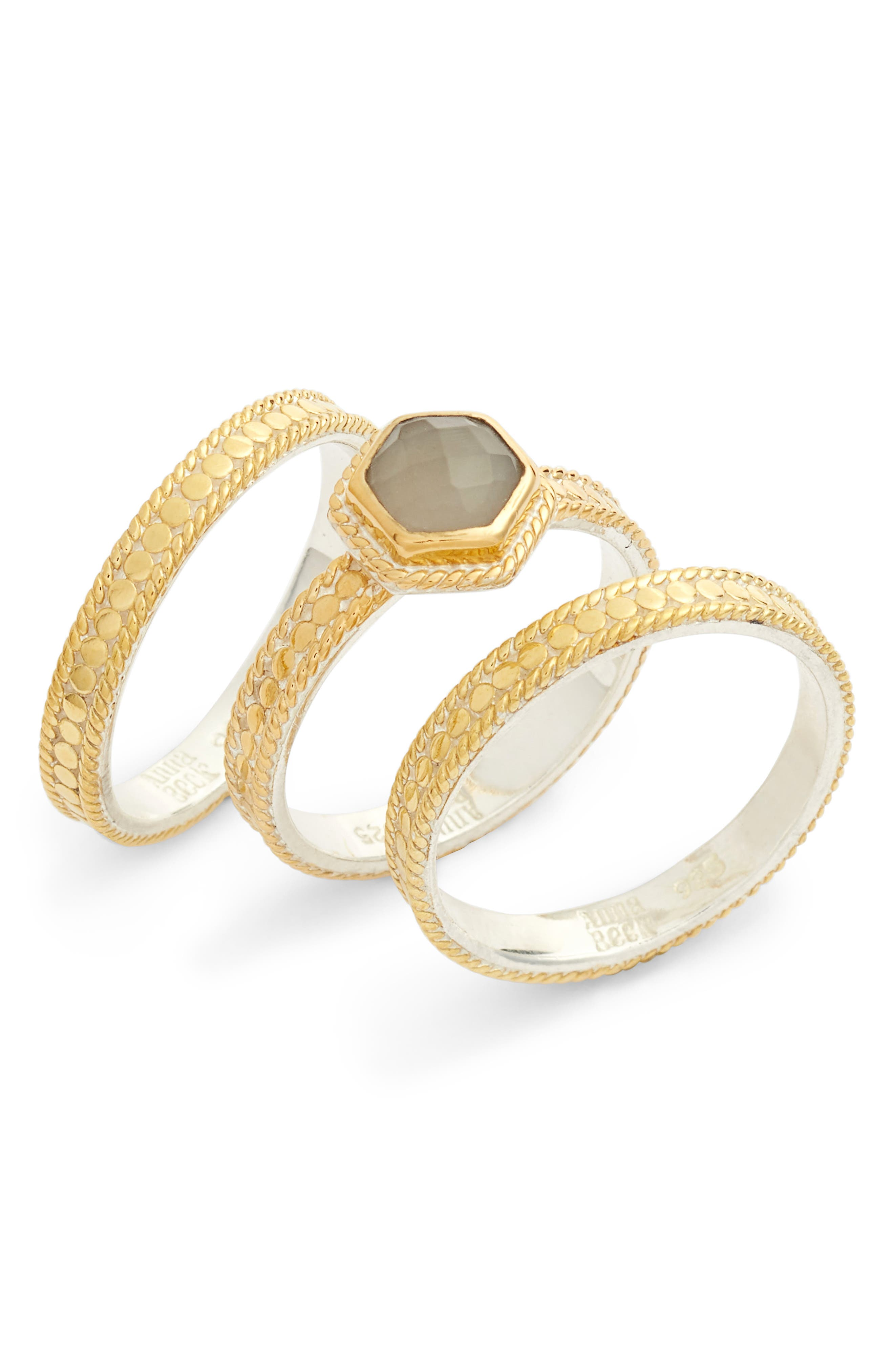 Anna Beck Grey Moonstone 3-Piece Stacking Ring Set