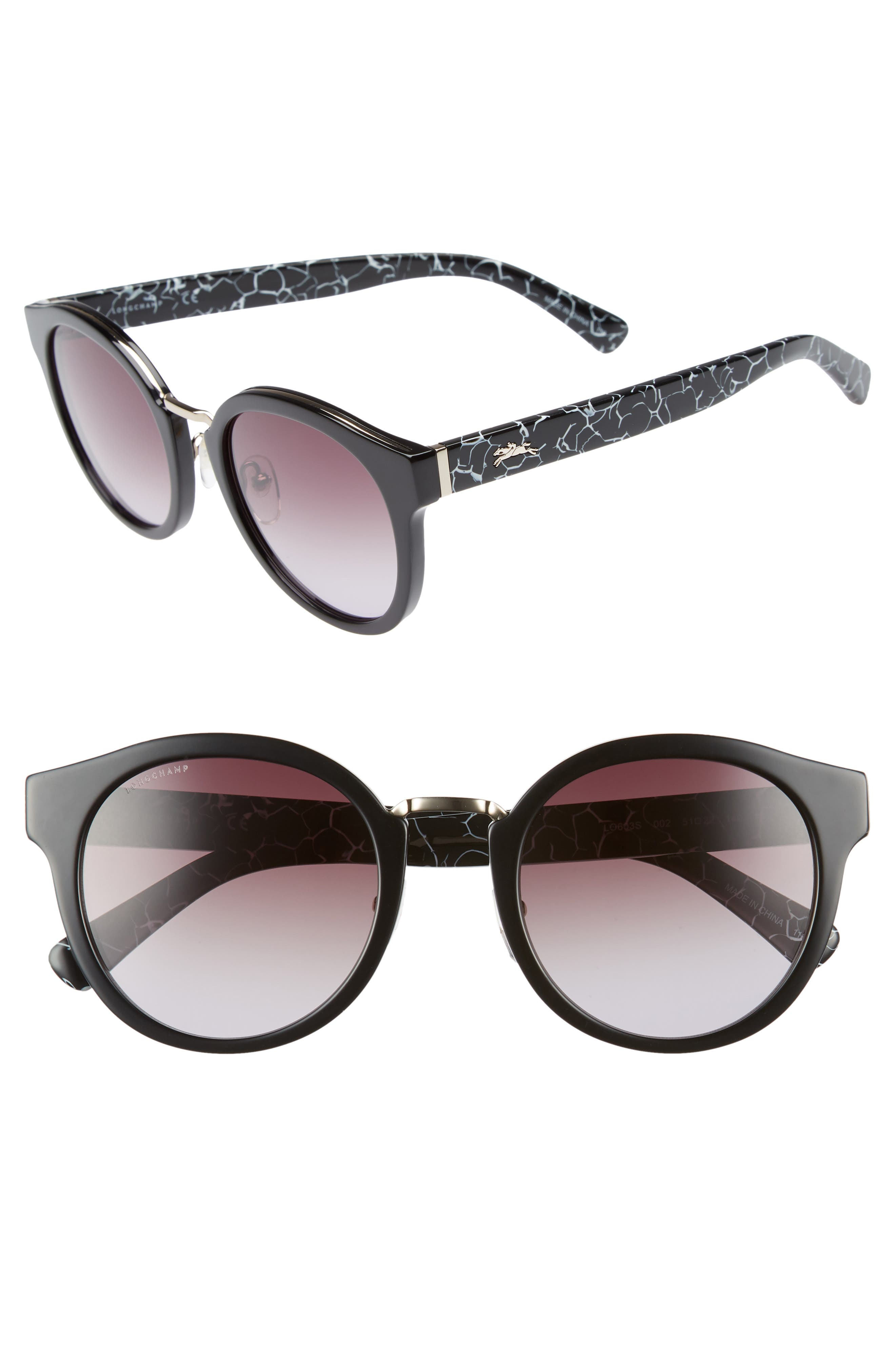51mm Round Sunglasses,                             Main thumbnail 1, color,                             Marble Black