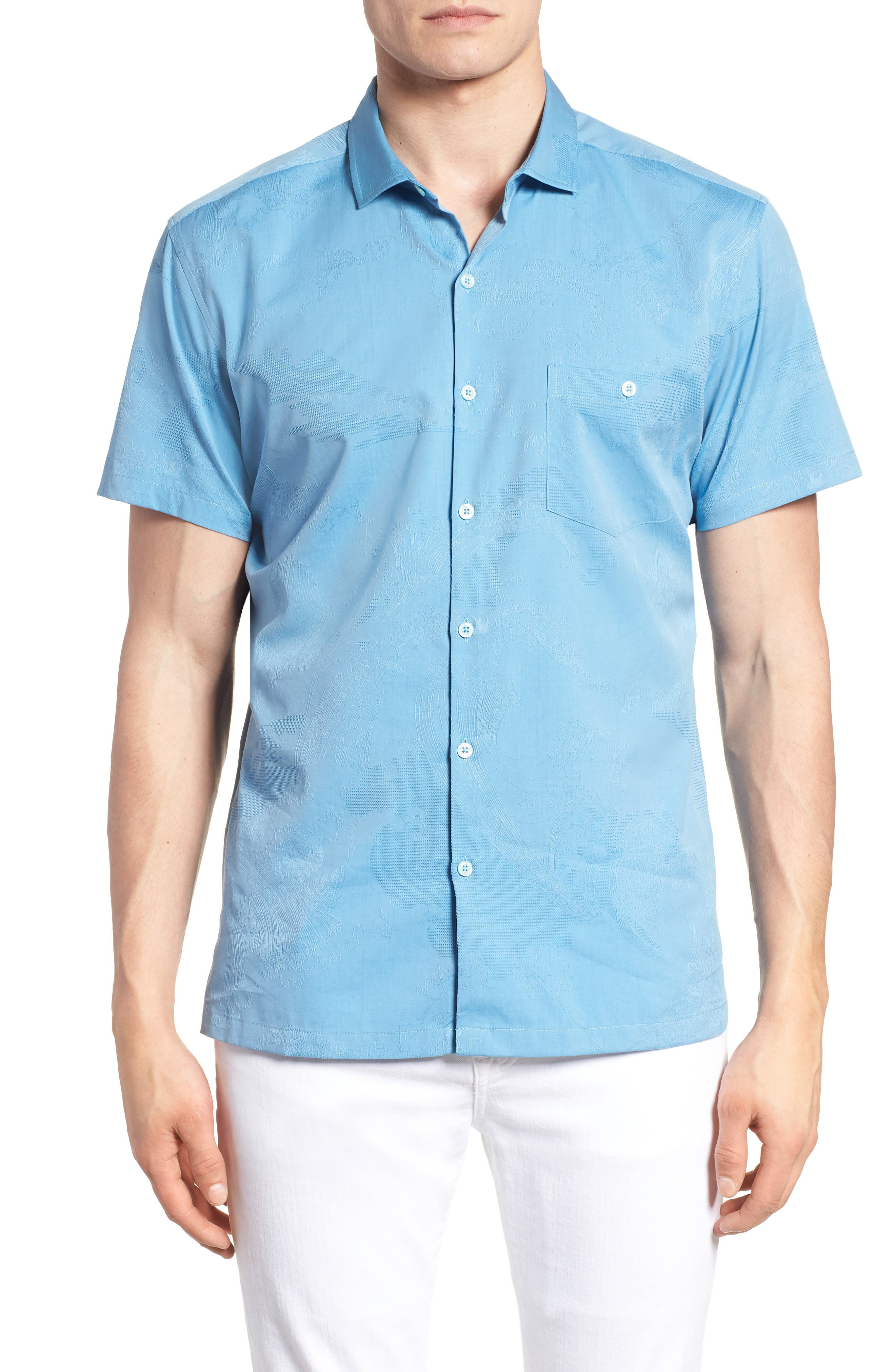 Seas the Day Trim Fit Cotton & Silk Camp Shirt,                         Main,                         color, Wave