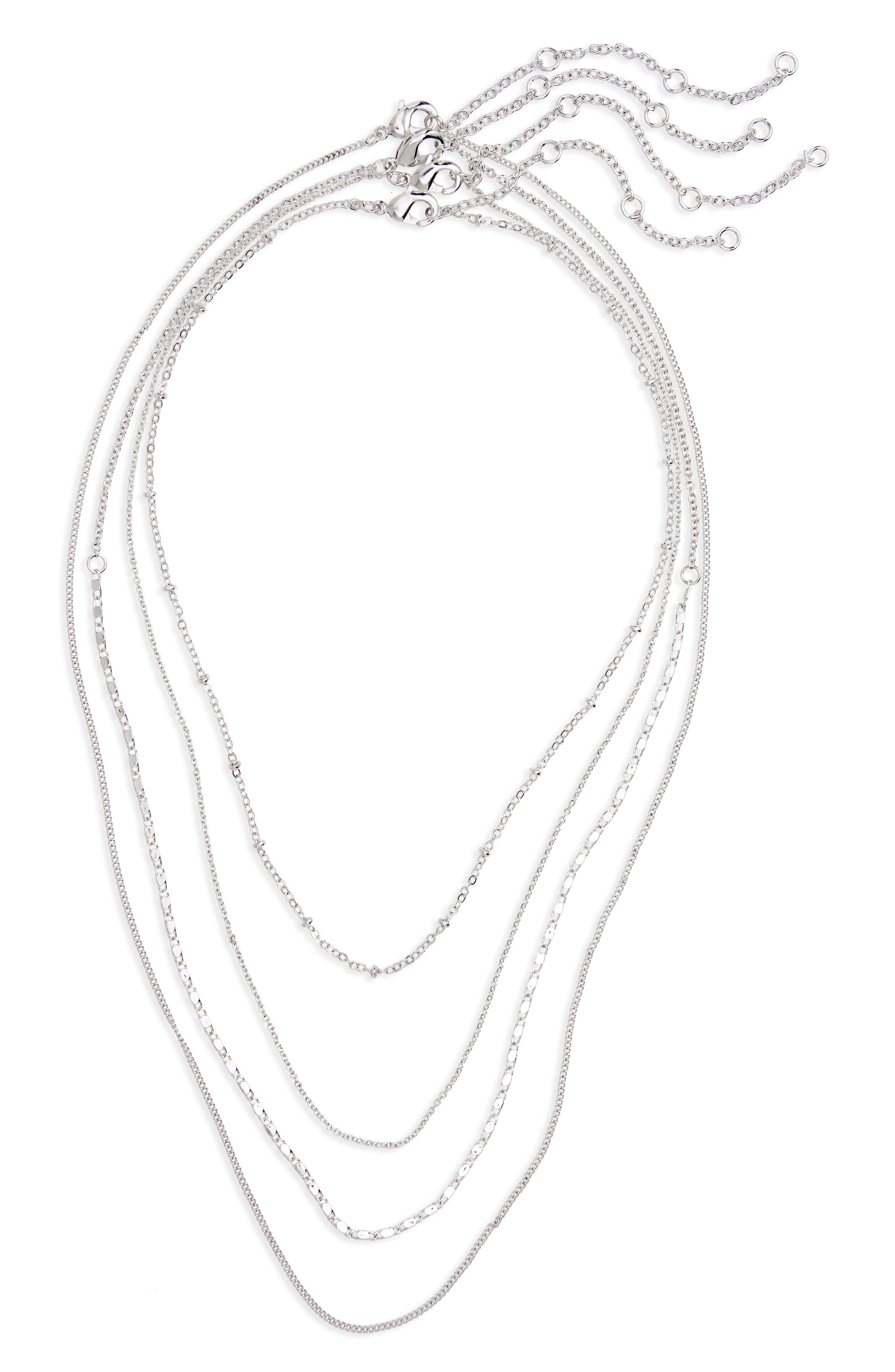4-Pack Chain Necklaces,                             Main thumbnail 1, color,                             Silver