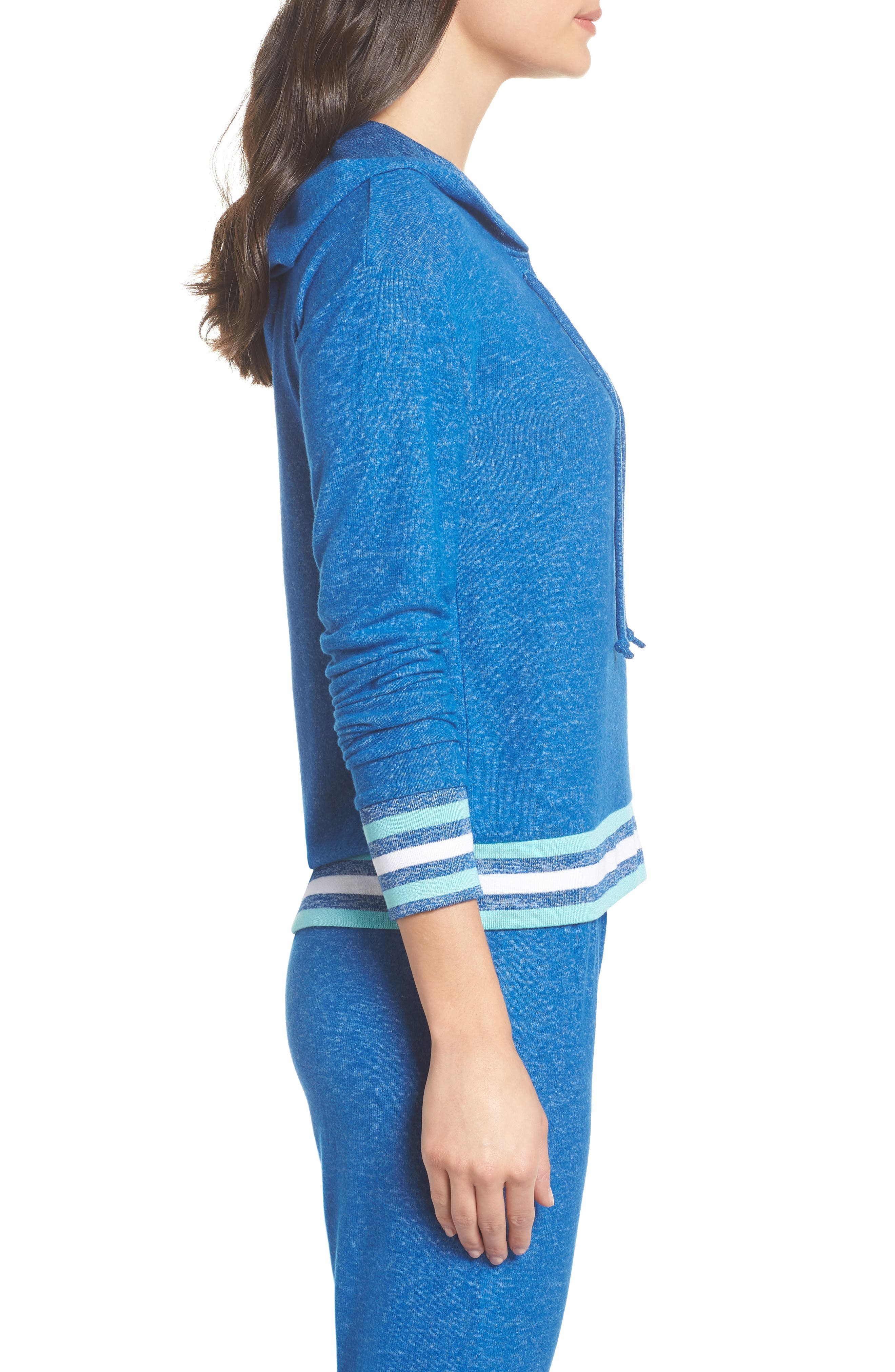 Brushed Hacci Hoodie,                             Alternate thumbnail 3, color,                             Blue Classics