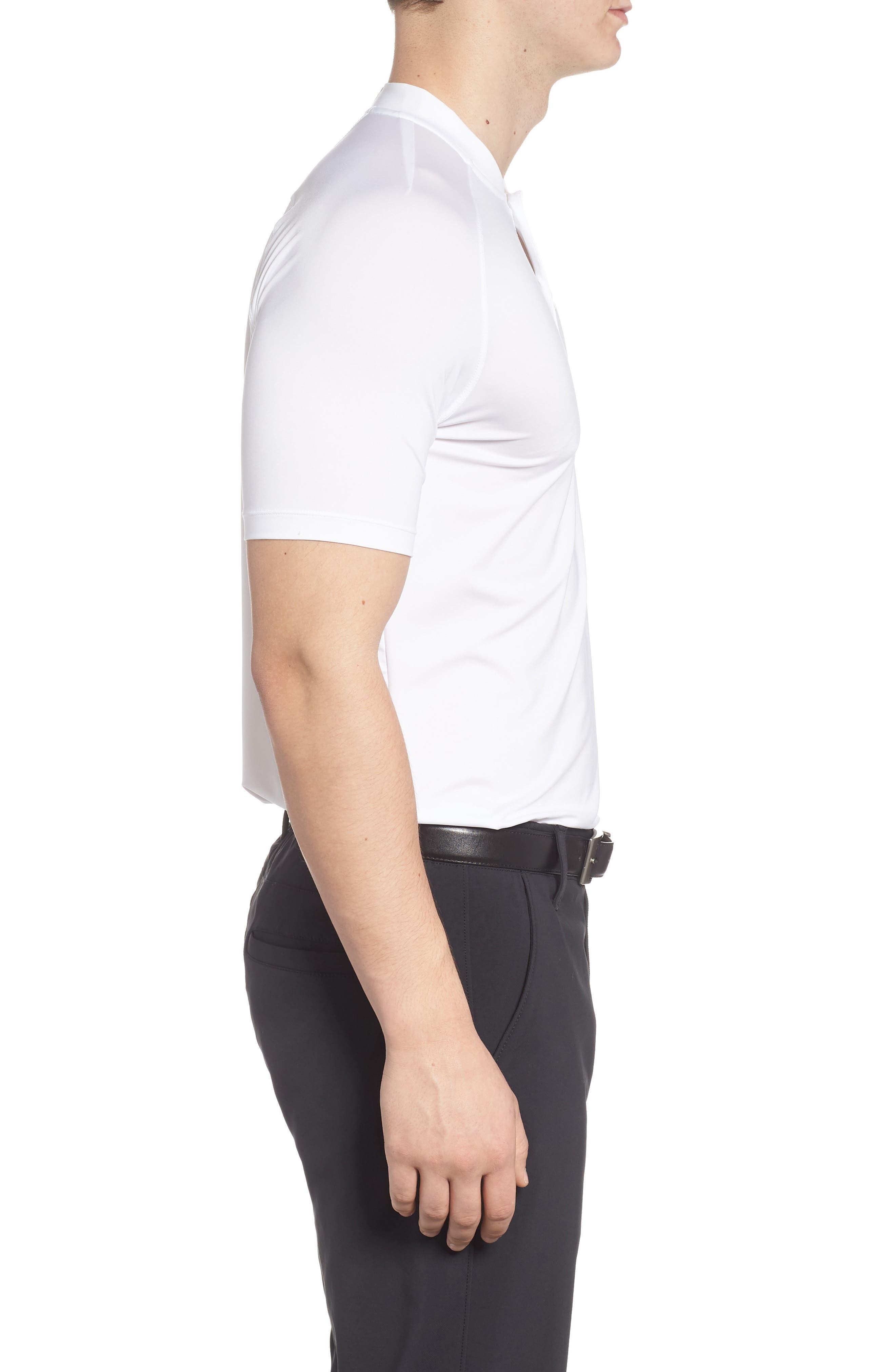 Dry Dynamic Slim Fit Polo,                             Alternate thumbnail 3, color,                             White/ Silver