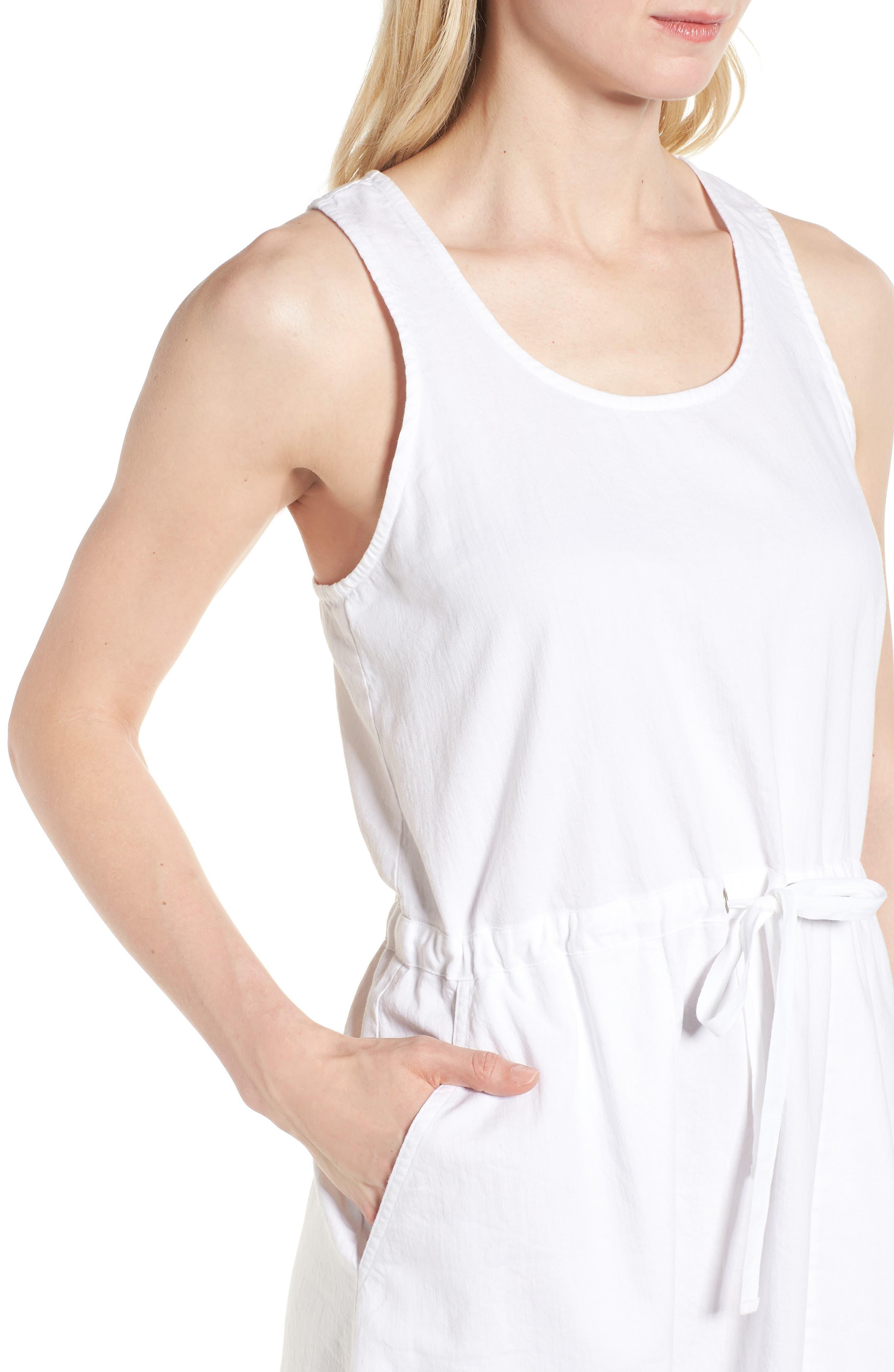 Drawstring Organic Cotton Midi Dress,                             Alternate thumbnail 4, color,                             White