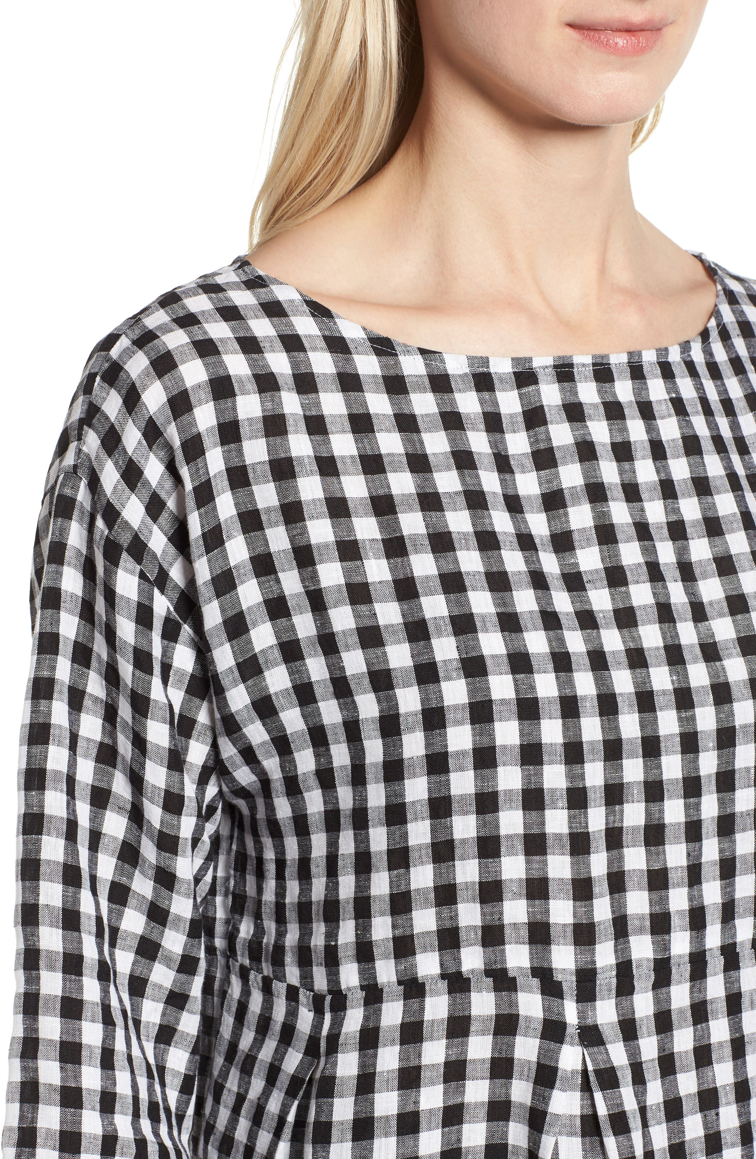 Gingham Organic Linen Top,                             Alternate thumbnail 4, color,                             Black/ White