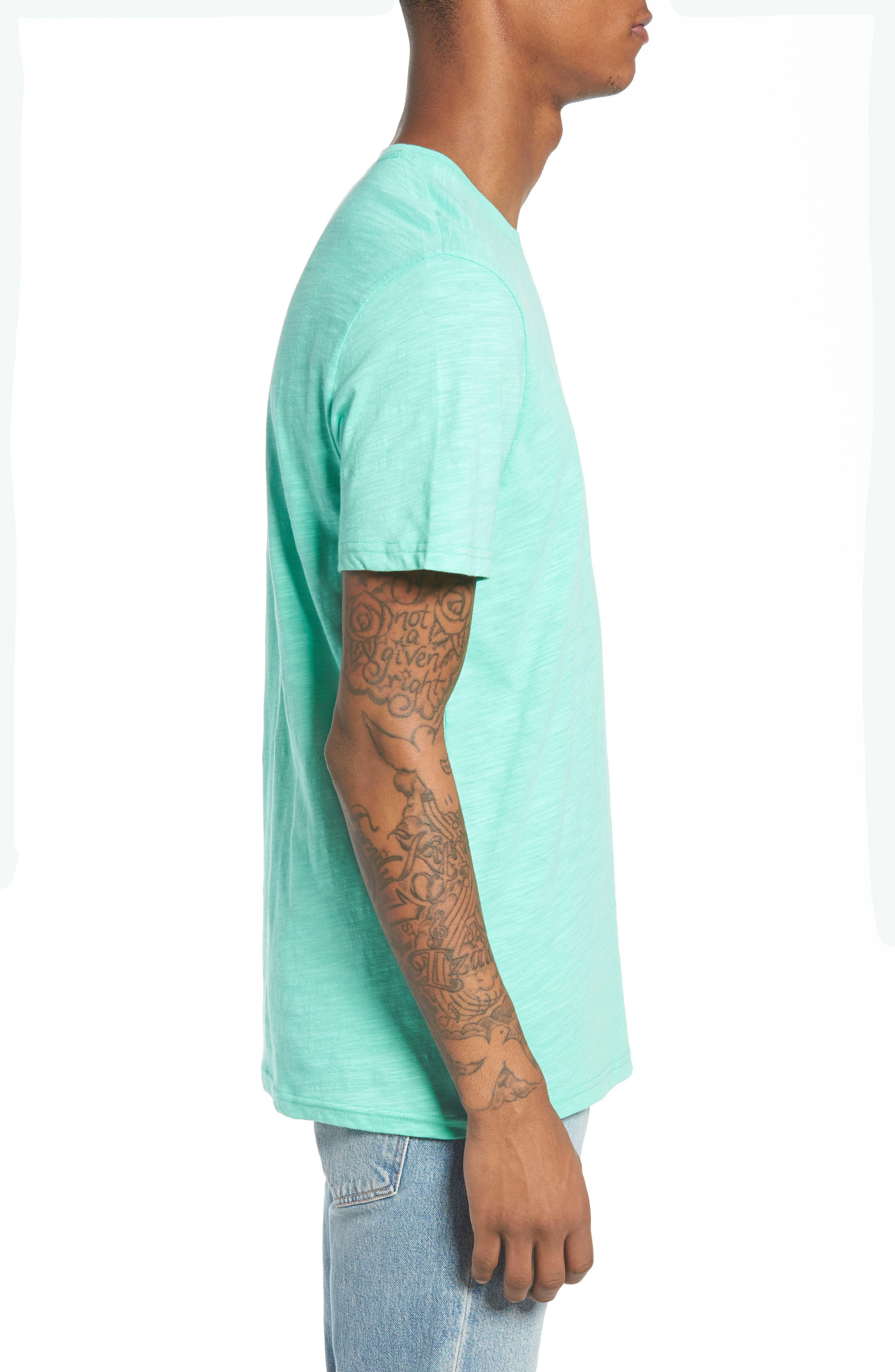 Slub Knit T-Shirt,                             Alternate thumbnail 3, color,                             Green Largo