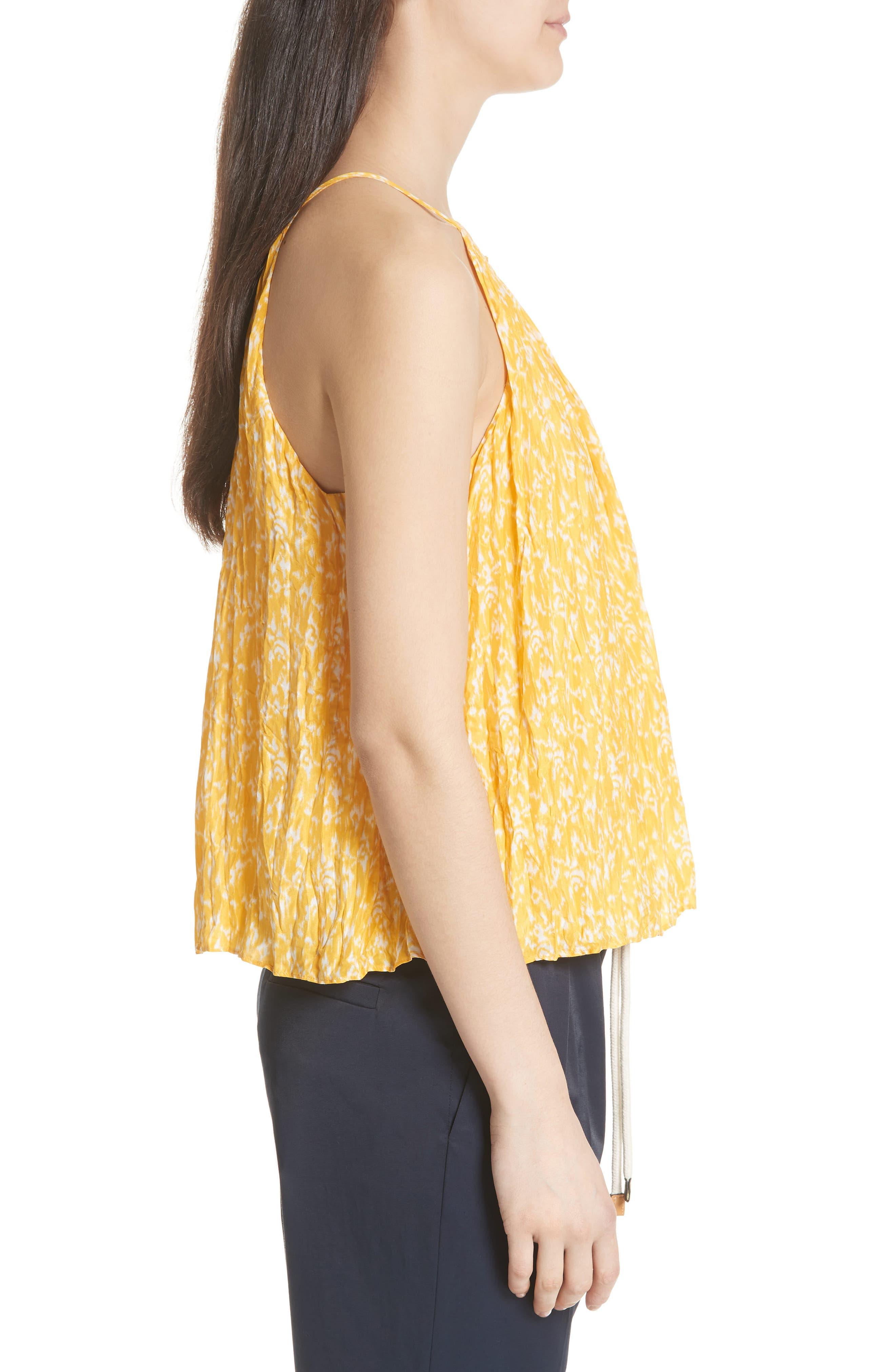 Hirota Crinkled Silk Keyhole Blouse,                             Alternate thumbnail 3, color,                             Corn Silk
