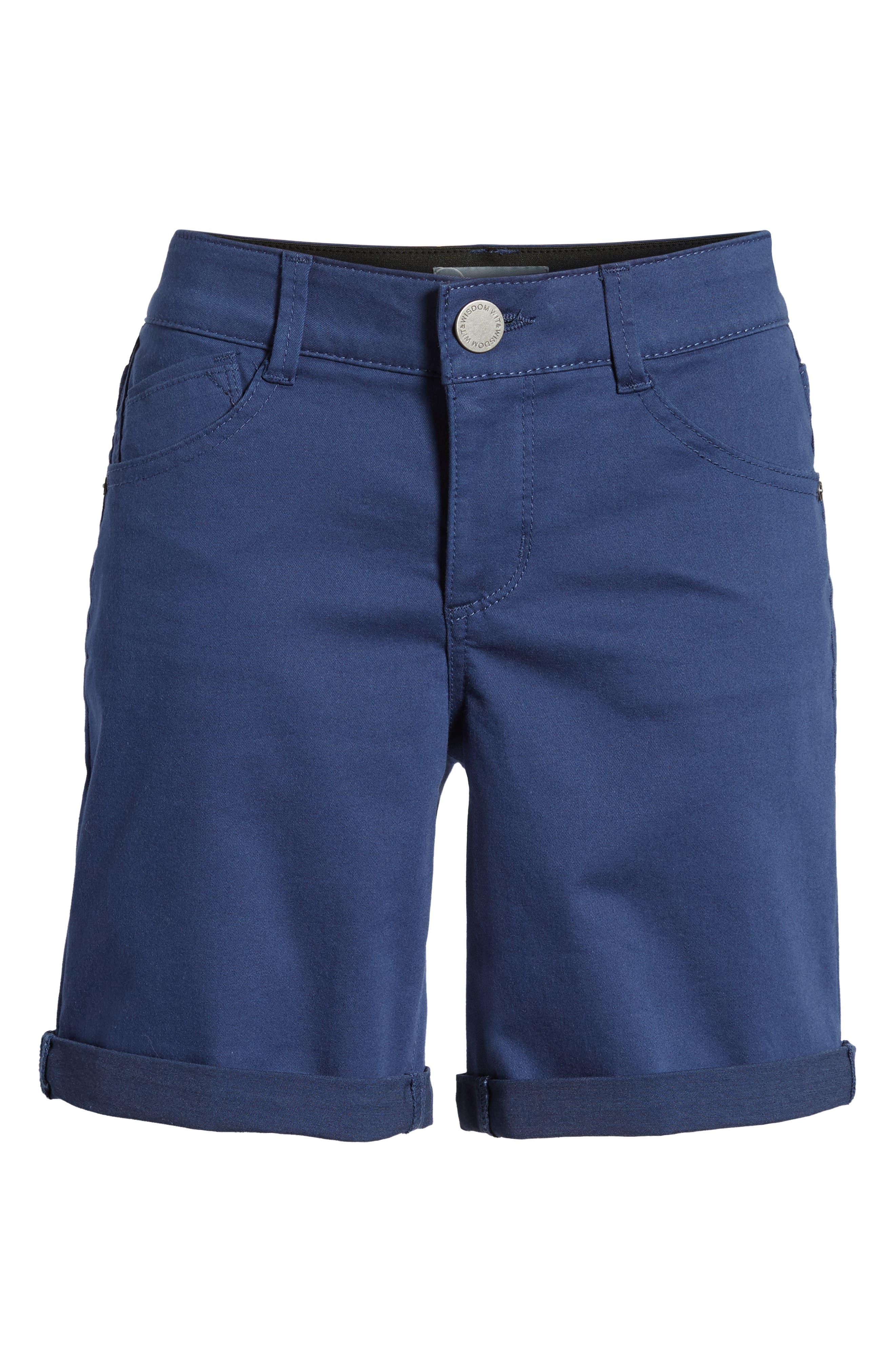 Ab-Solution Stretch Cotton Shorts,                             Alternate thumbnail 6, color,                             Coastal Blue