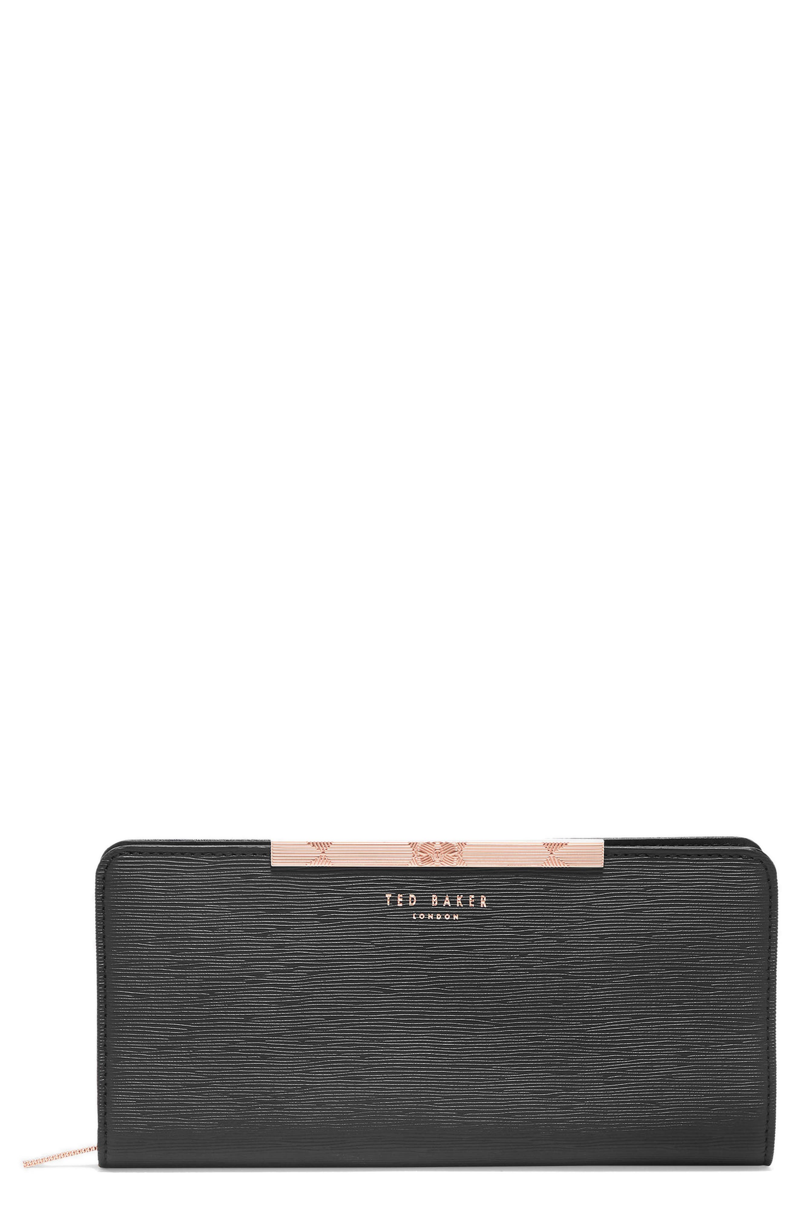 Yasmine Plissé Leather Matinée Wallet,                         Main,                         color, Black