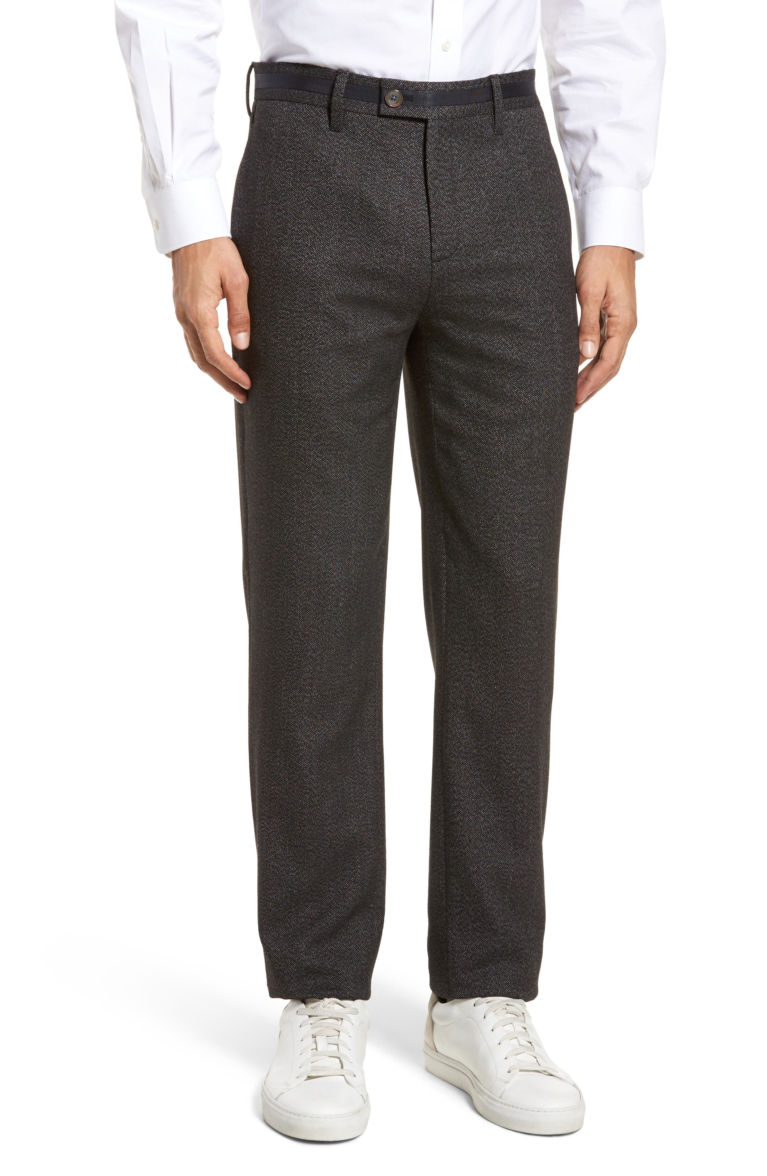 Bektrot Flat Front Stretch Solid Pants,                         Main,                         color, Charcoal