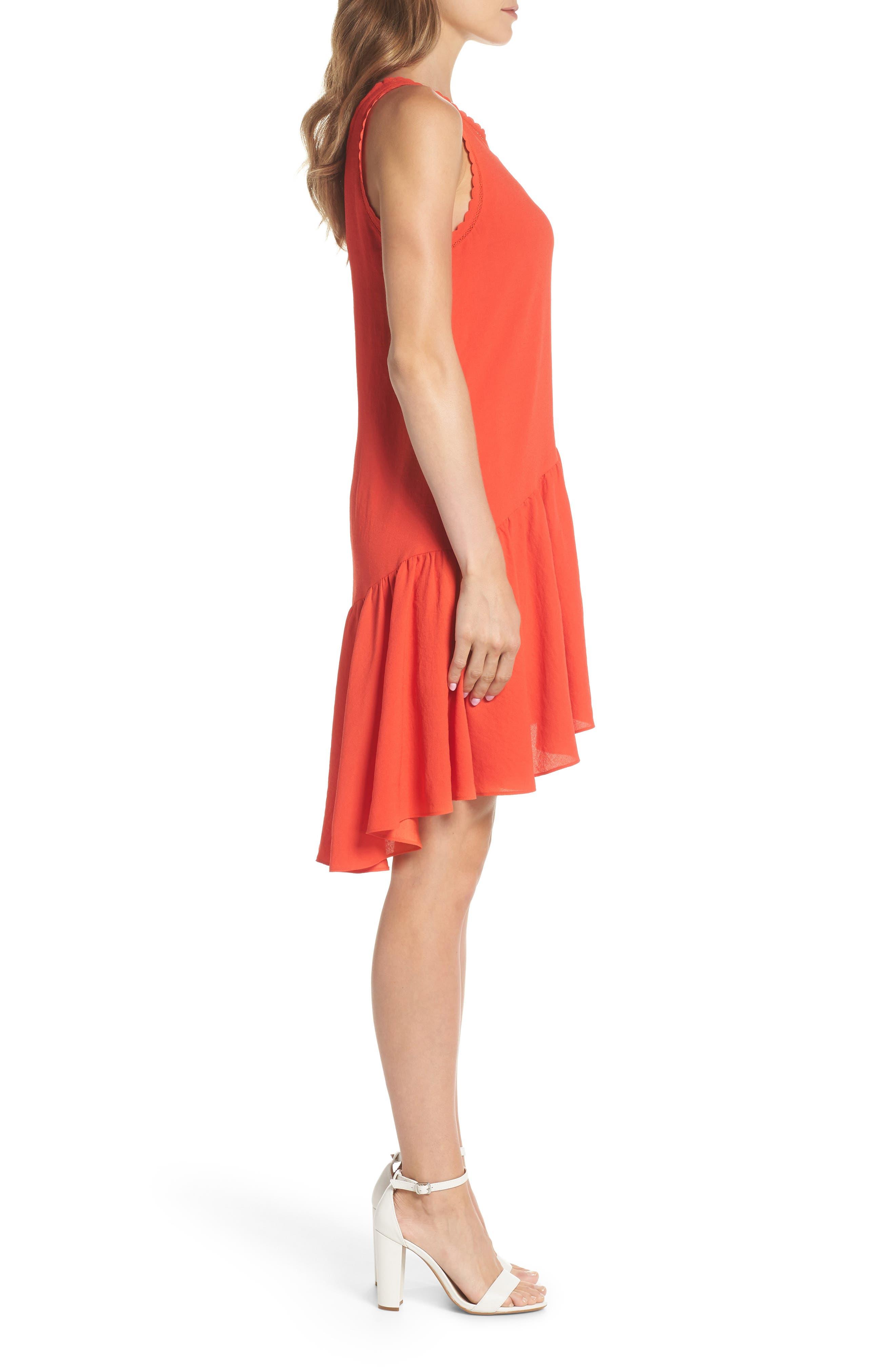 Ruffle Hem Swing Dress,                             Alternate thumbnail 3, color,                             Red Fiery