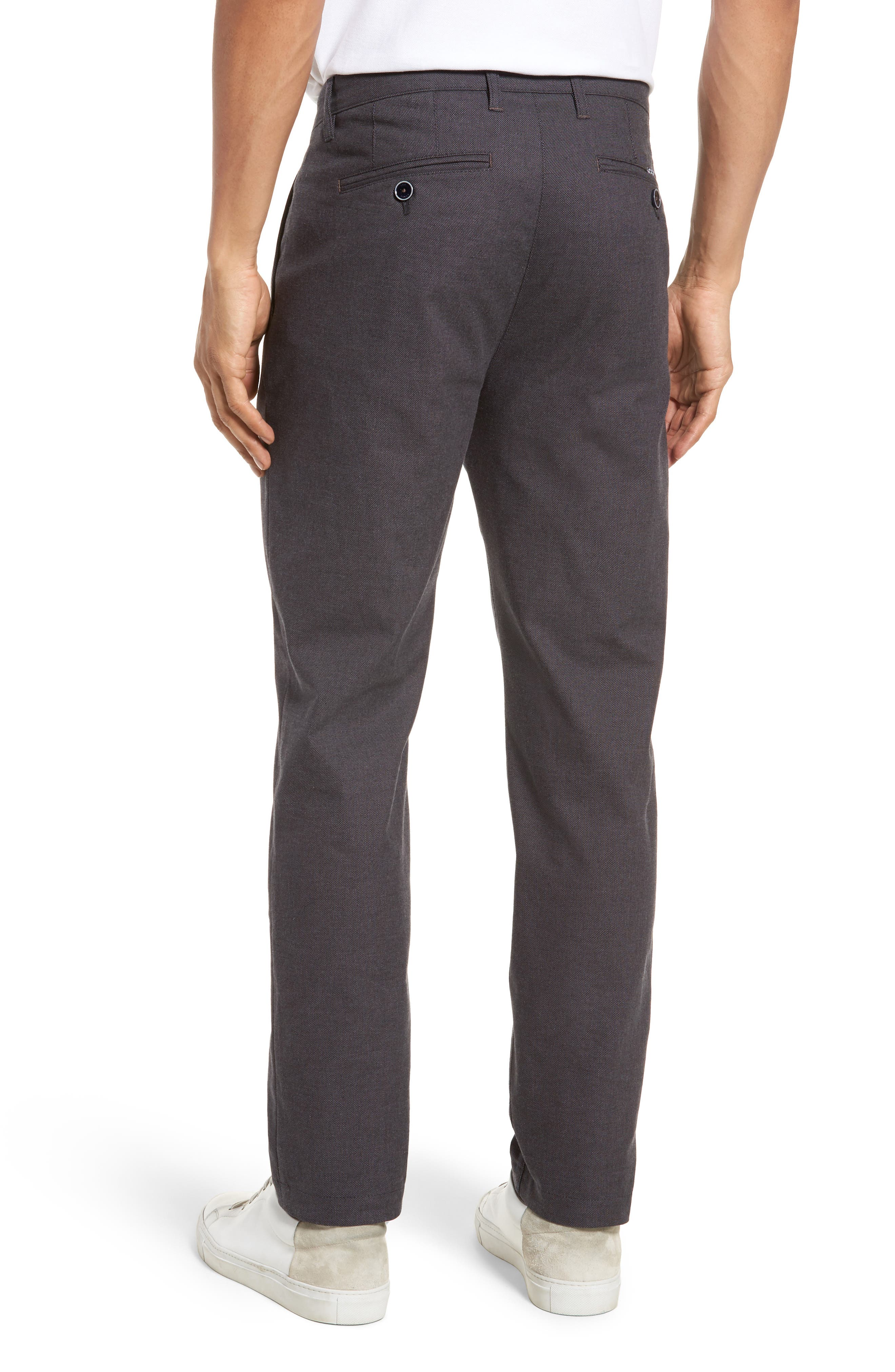 Holldet Flat Front Stretch Solid Cotton Pants,                             Alternate thumbnail 2, color,                             Charcoal