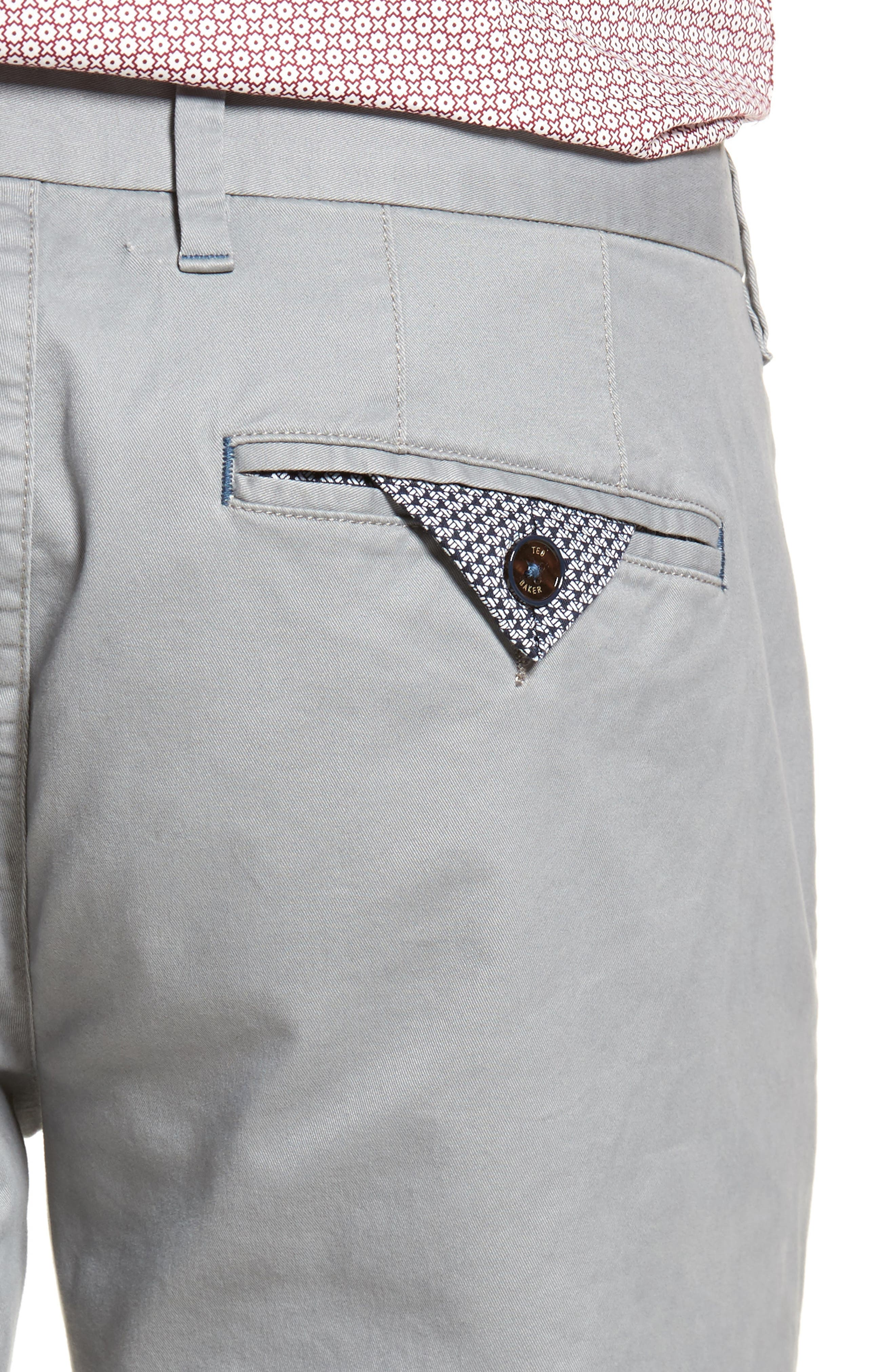 Proctt Flat Front Stretch Solid Cotton Pants,                             Alternate thumbnail 4, color,                             Light Grey