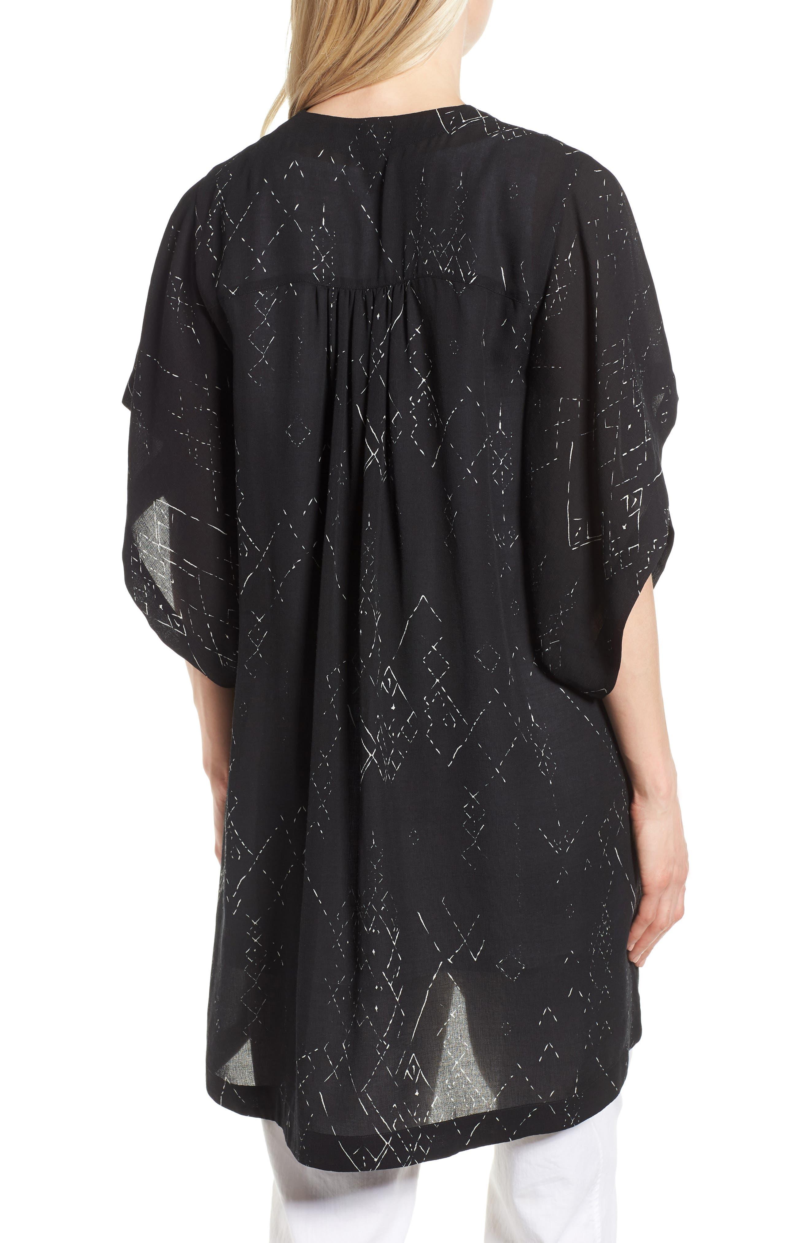 Long Silk Blend Kimono Jacket,                             Alternate thumbnail 2, color,                             Black
