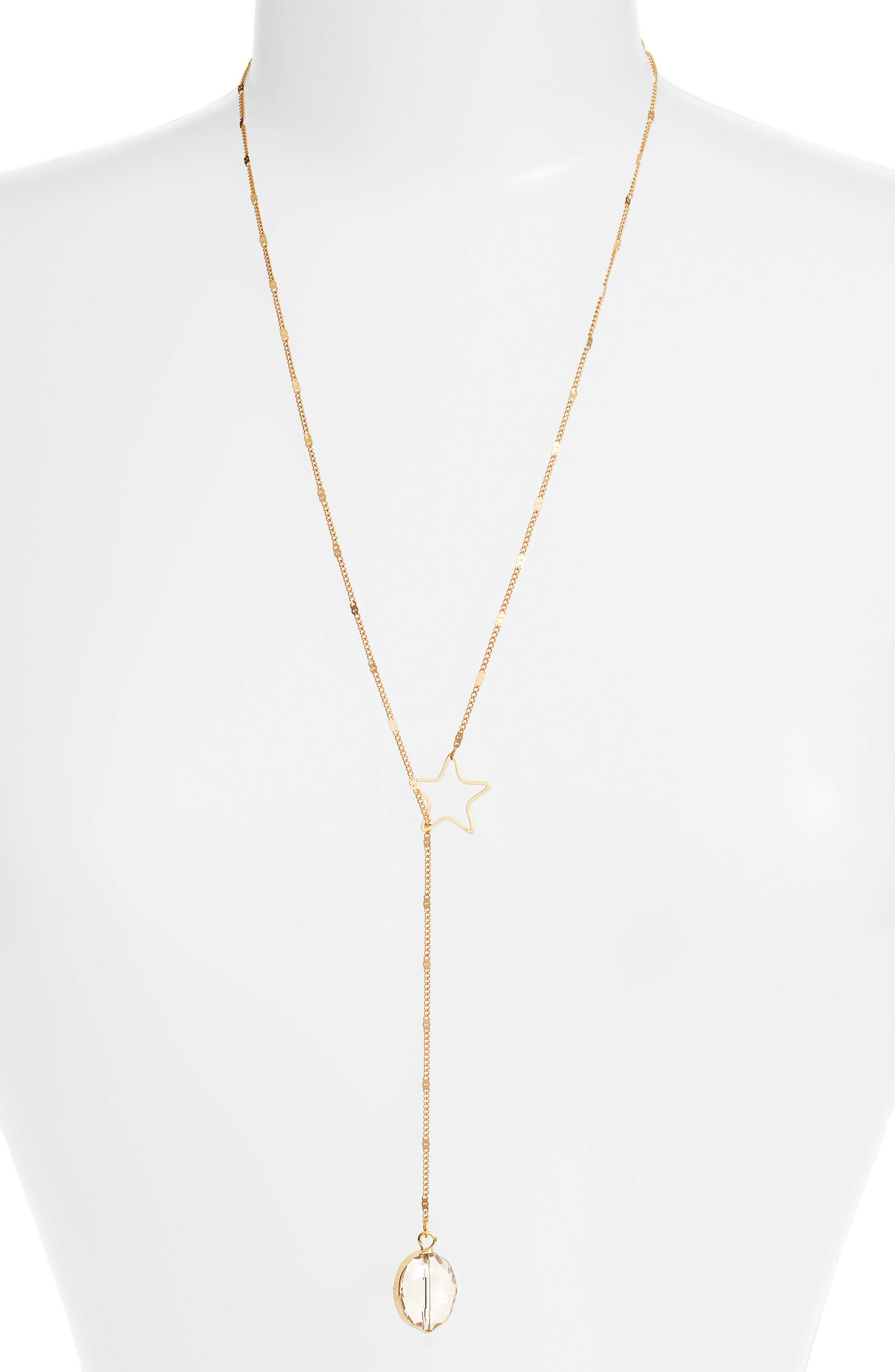 Astrid Lariat Necklace,                         Main,                         color, Gold