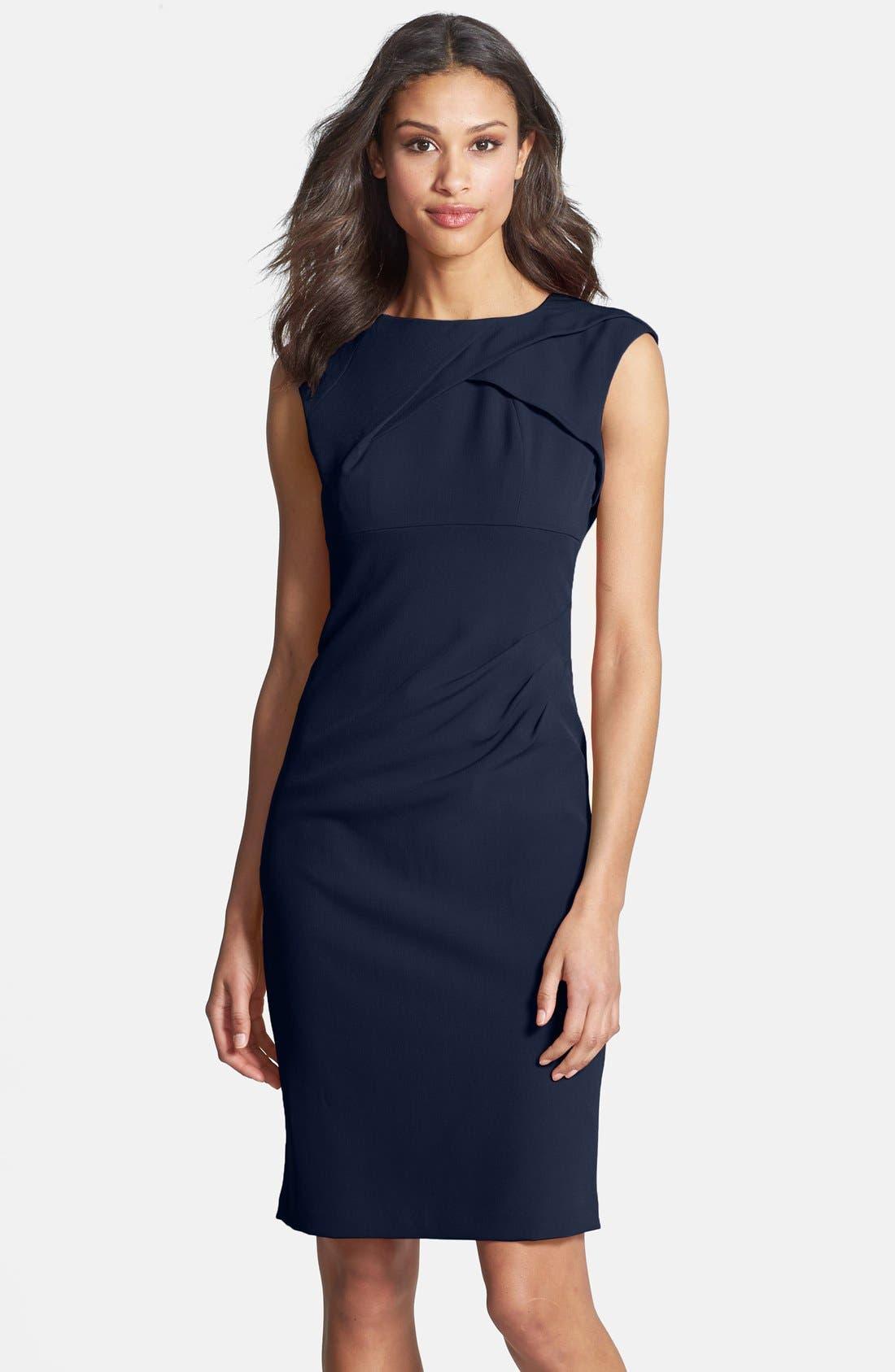 Alternate Image 1 Selected - Adrianna Papell Pleated Crepe Dress