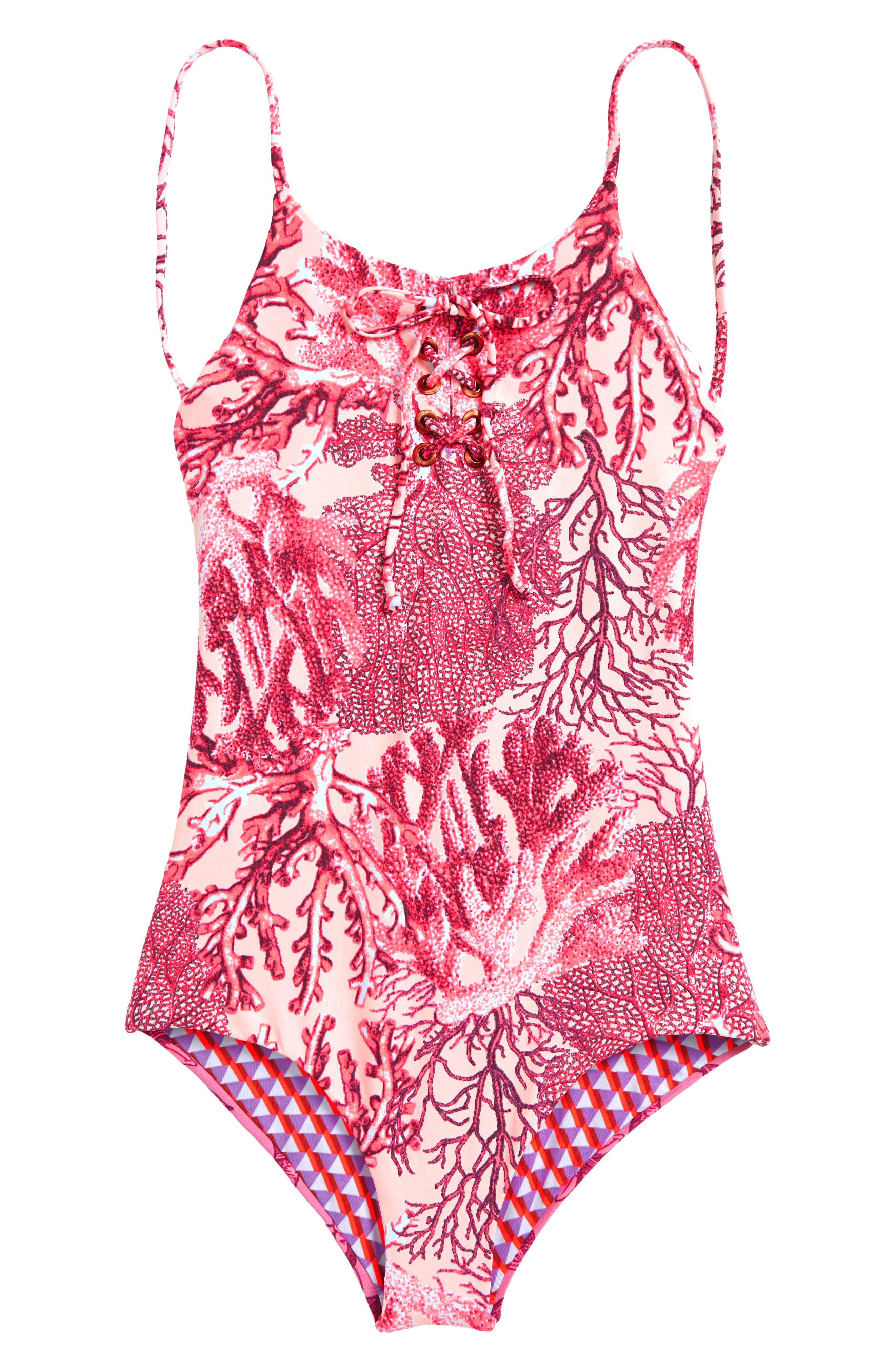 Forever Summer Lace-Up One-Piece Reversible Swimsuit,                         Main,                         color, Pink