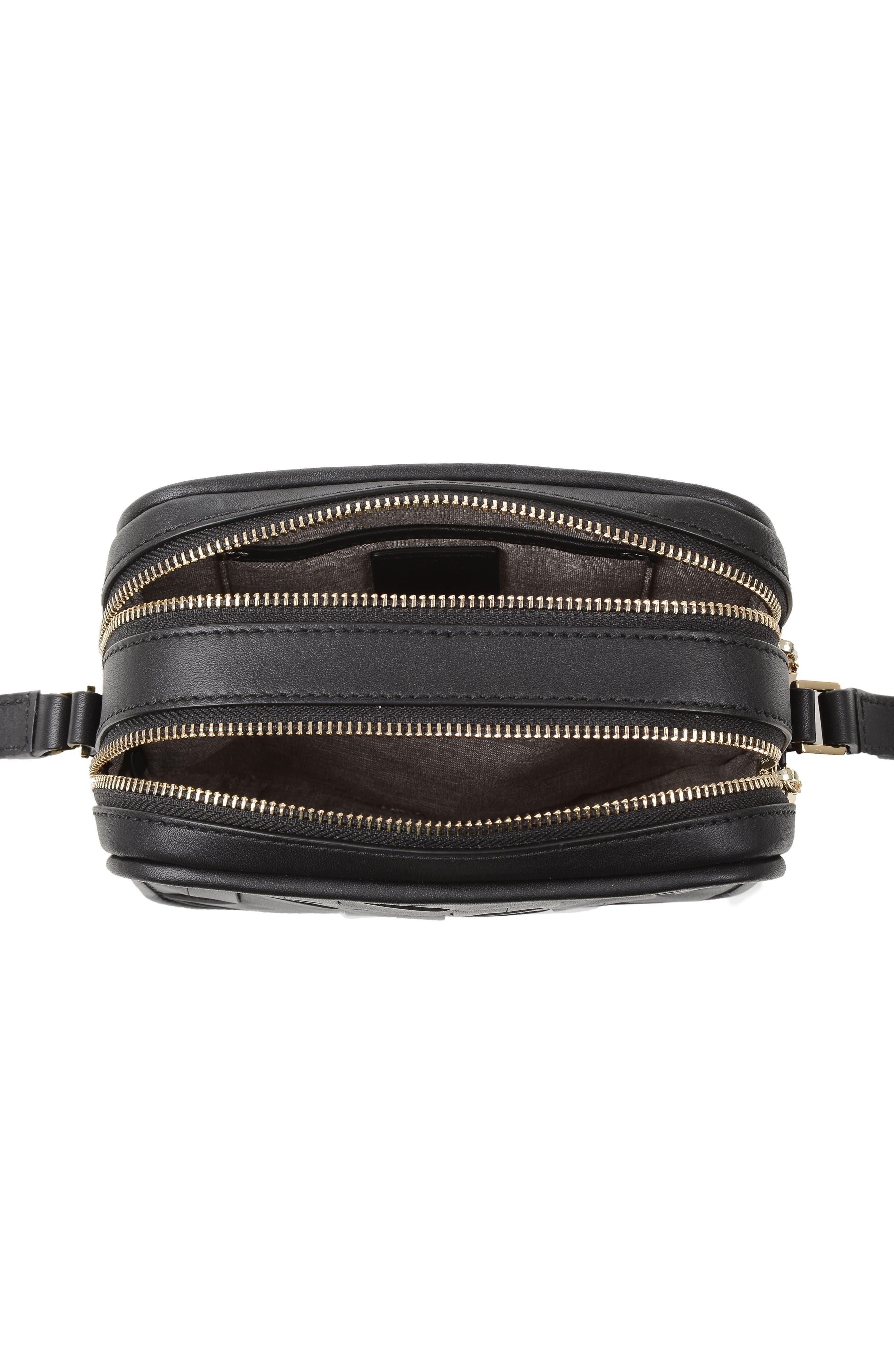 Explorer Woven Leather Camera Bag,                             Alternate thumbnail 5, color,                             Black