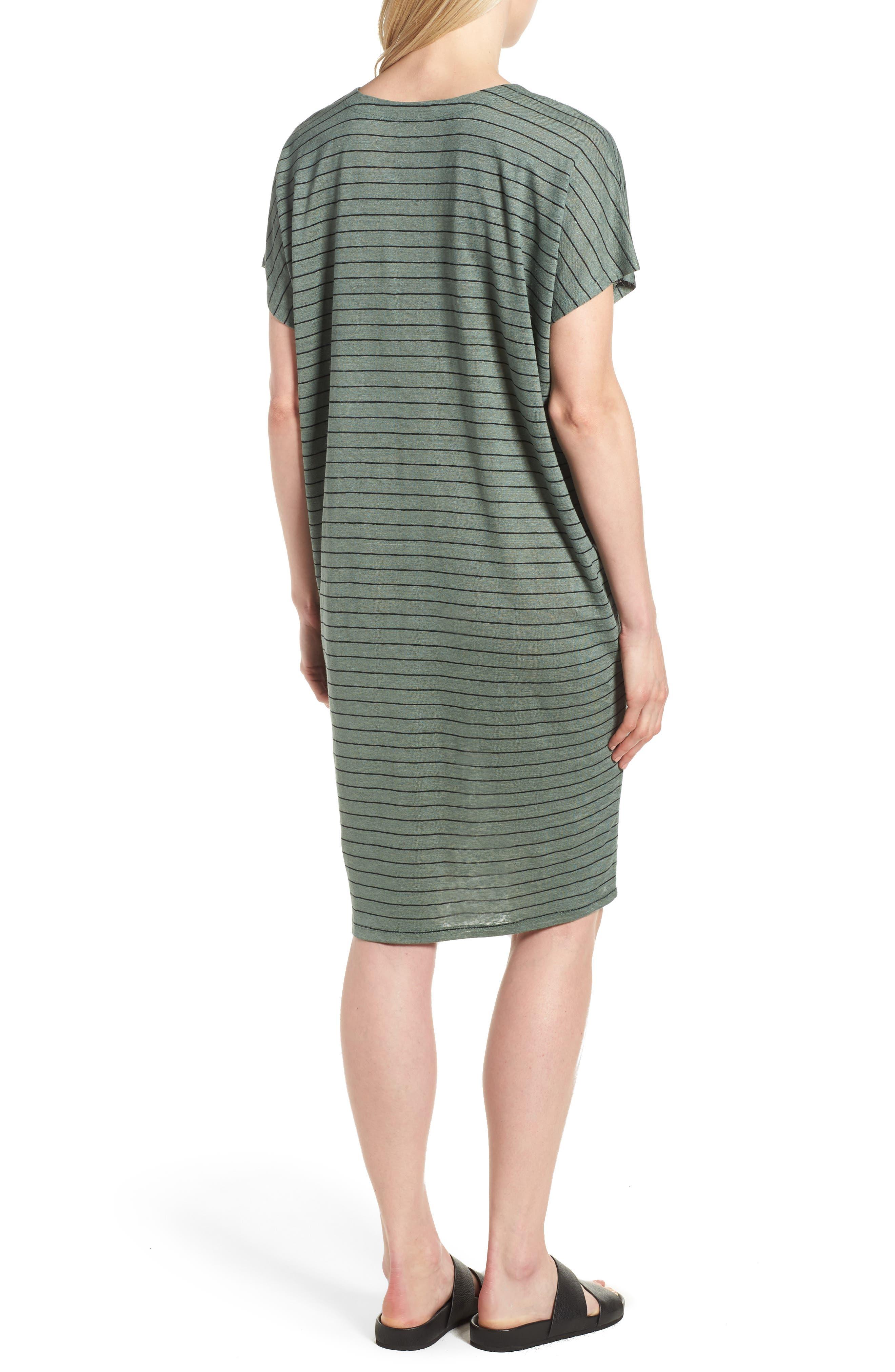 Stripe Organic Linen Shift Dress,                             Alternate thumbnail 2, color,                             Nori