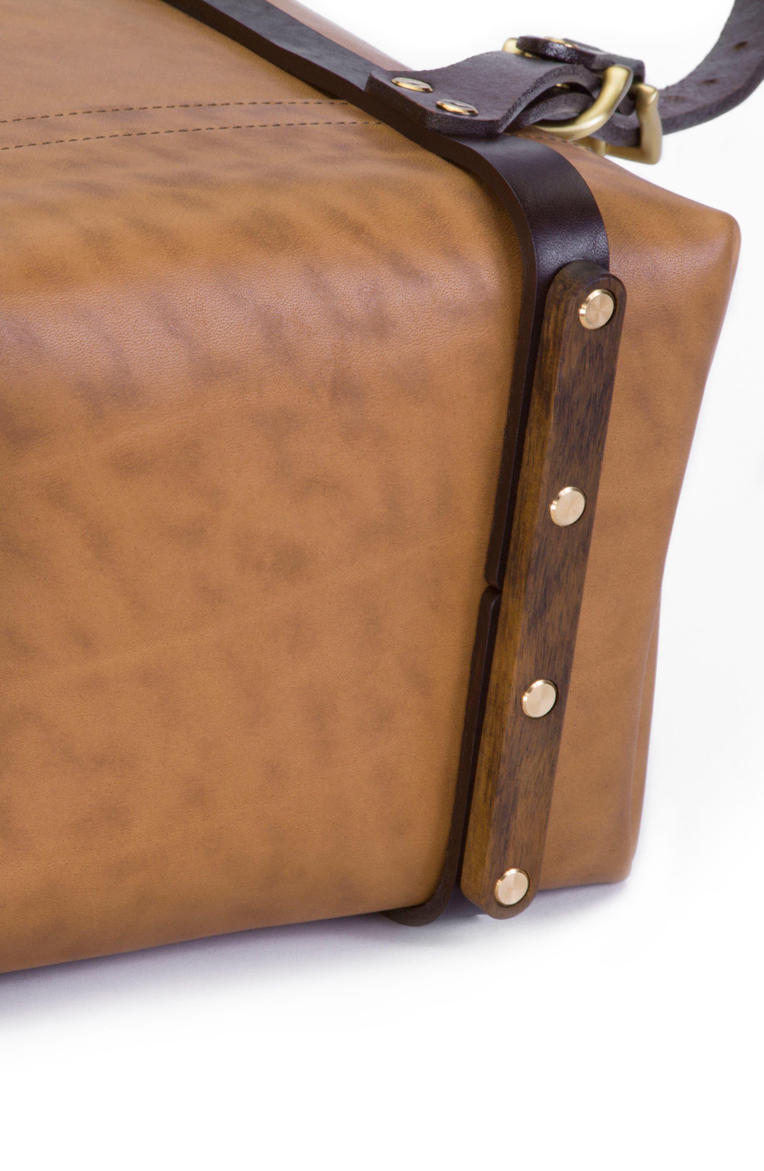 Keystone Brass Detail Leather Rucksack,                             Alternate thumbnail 5, color,                             Whiskey / Brass