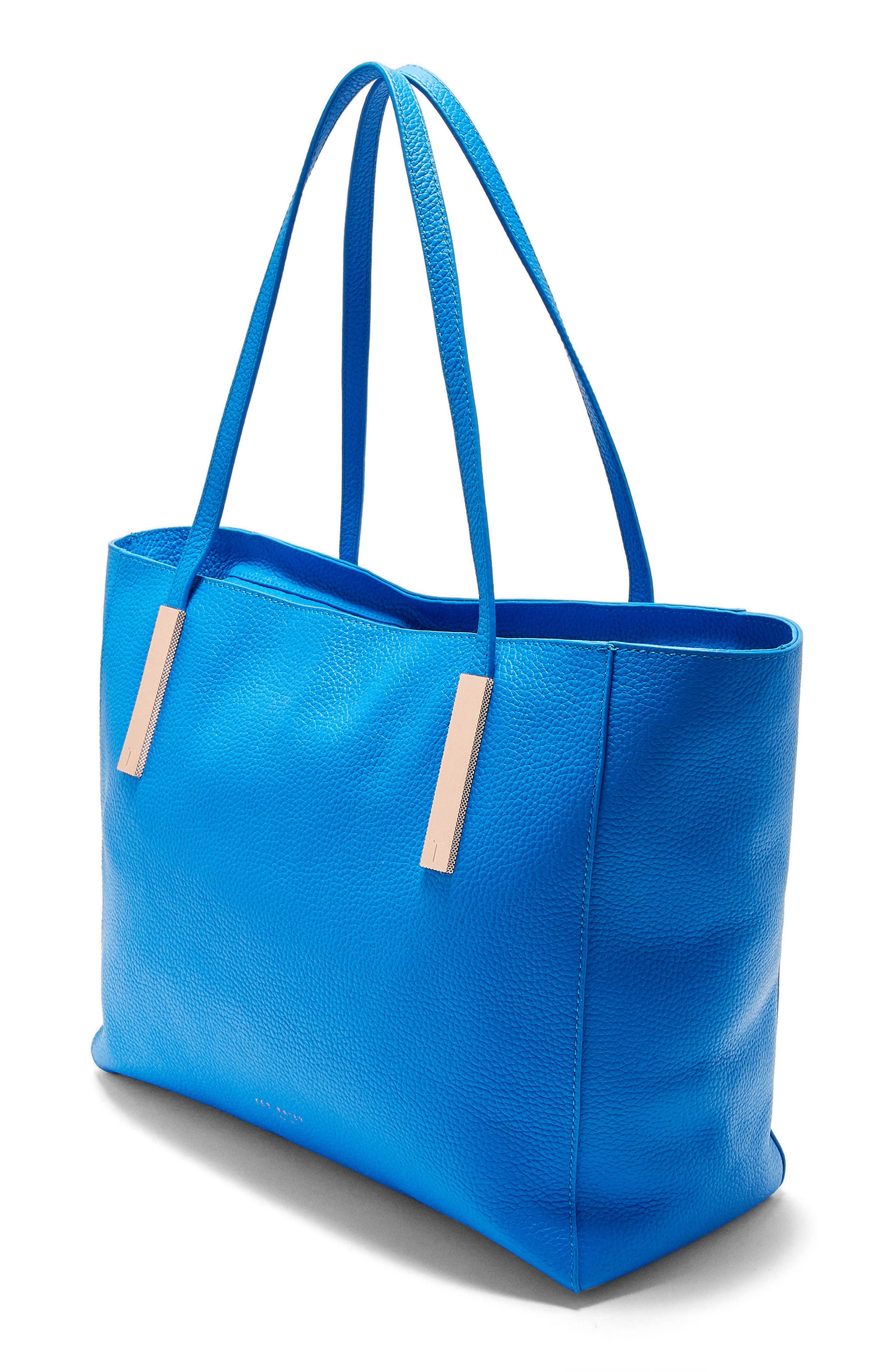 Haanaa Harmony Pebbled Leather Tote,                             Alternate thumbnail 3, color,                             Bright Blue