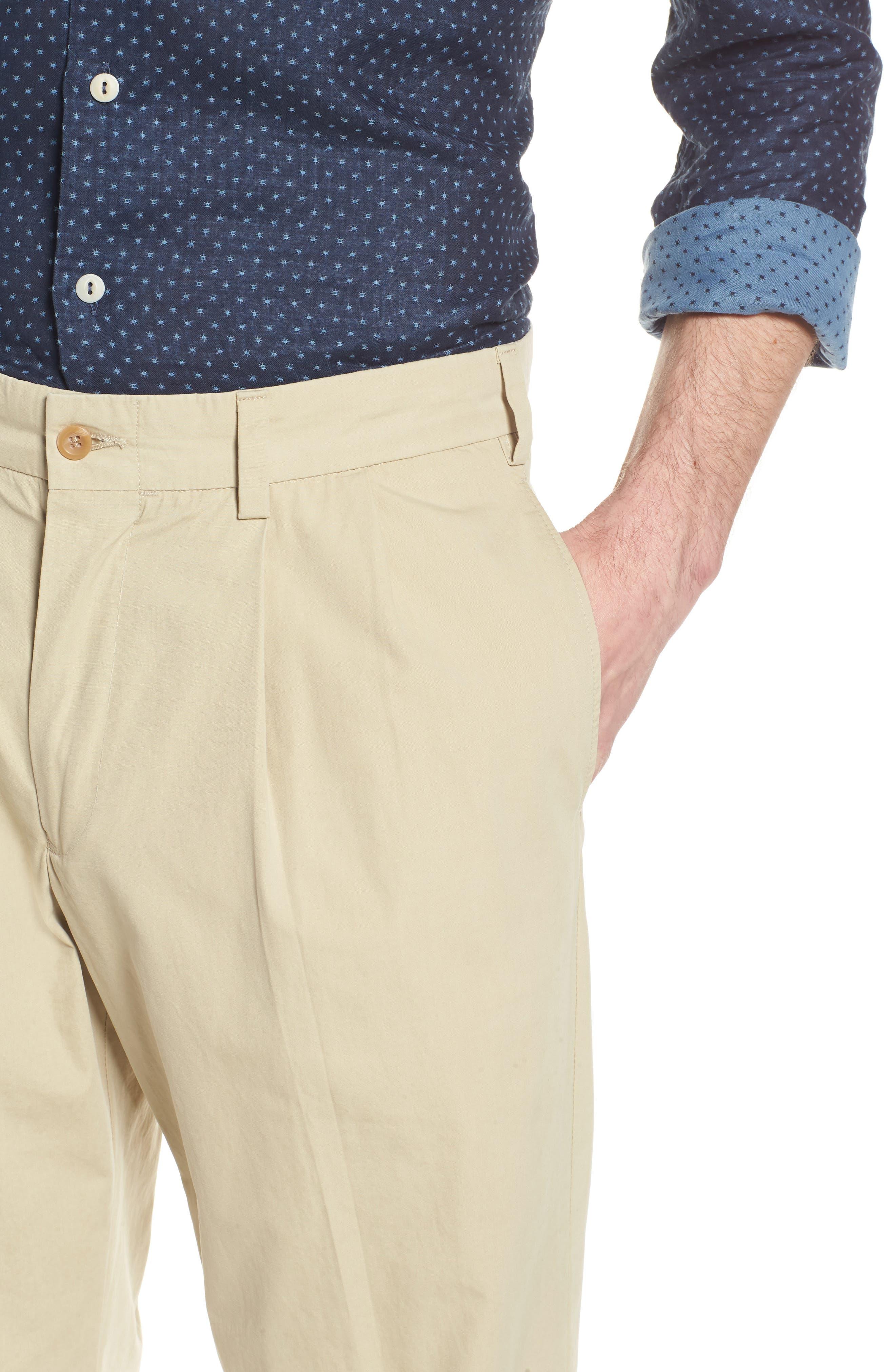 M2 Classic Fit Pleated Tropical Cotton Poplin Pants,                             Alternate thumbnail 4, color,                             Khaki