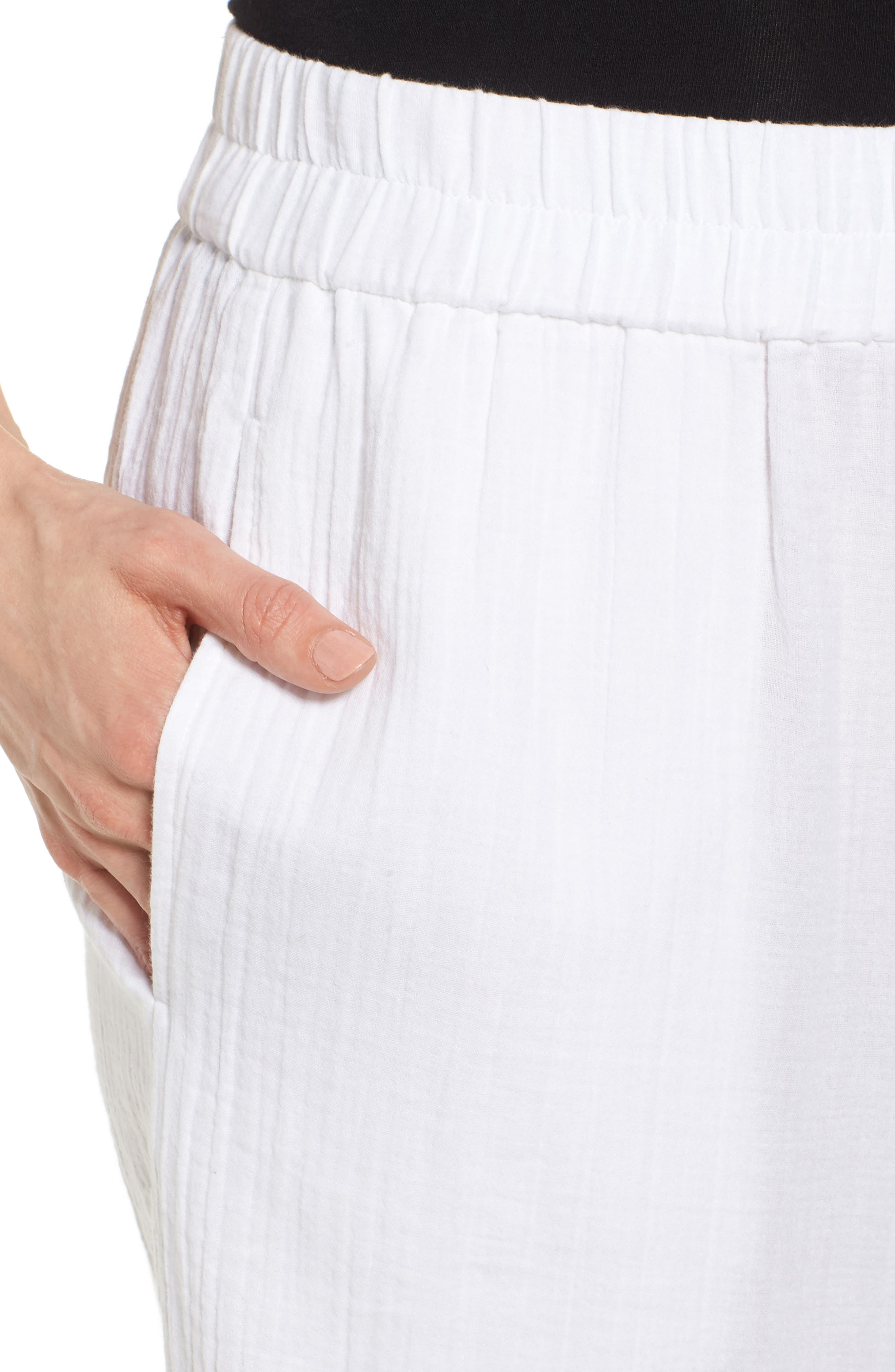 Straight Leg Organic Cotton Pants,                             Alternate thumbnail 4, color,                             White