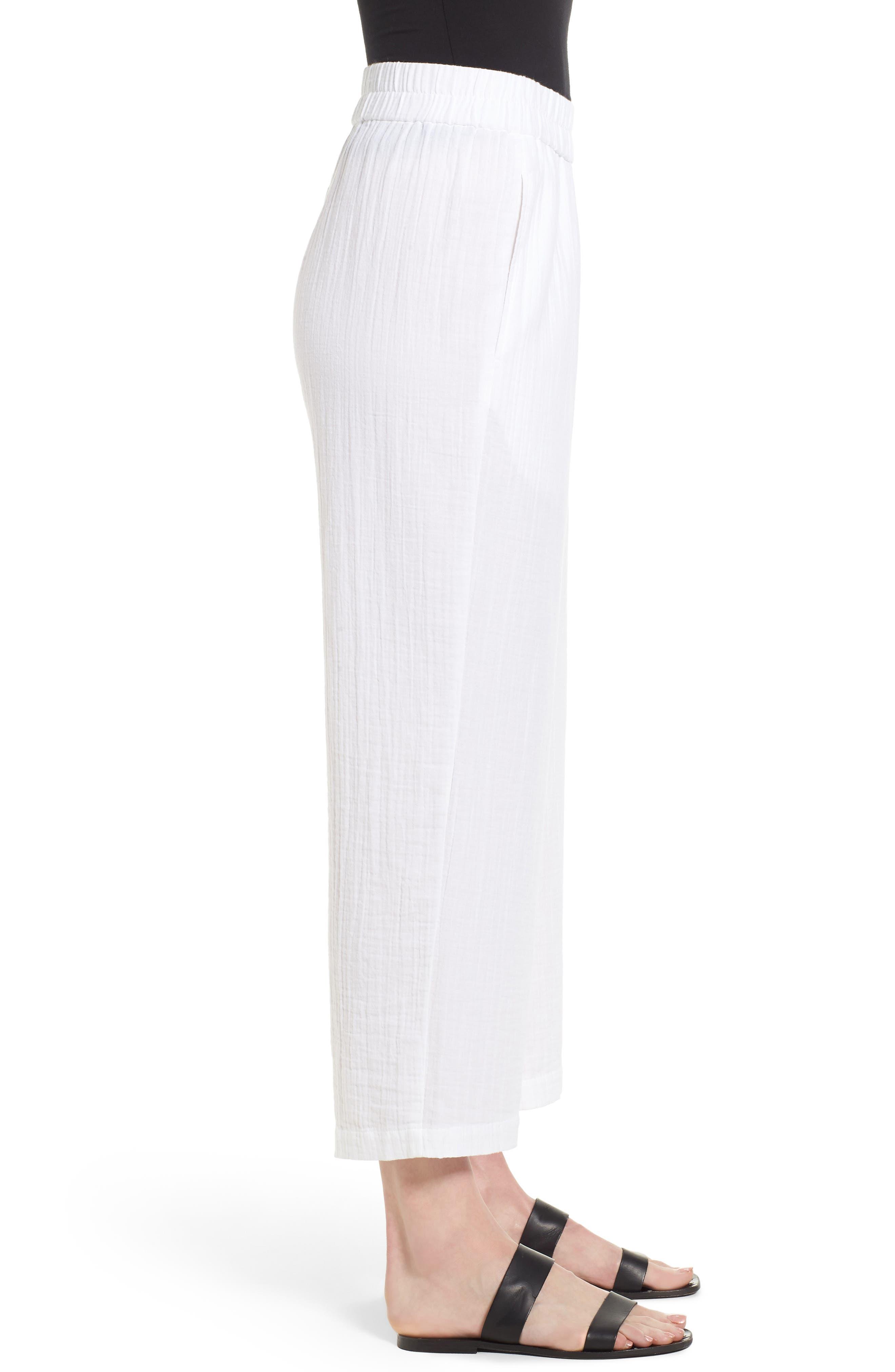 Straight Leg Organic Cotton Pants,                             Alternate thumbnail 3, color,                             White