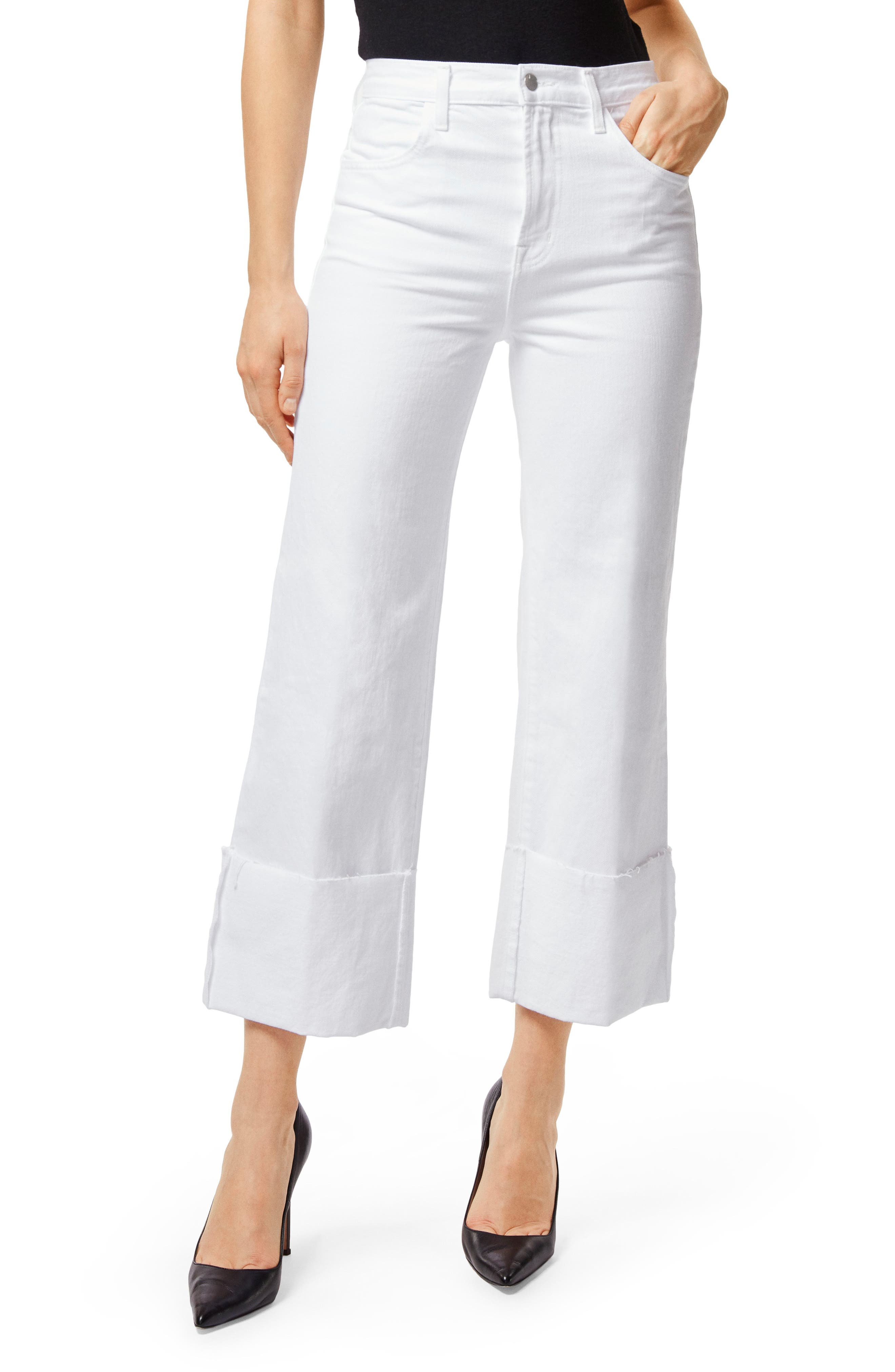 Joan High Waist Crop Wide Leg Jeans,                         Main,                         color, White