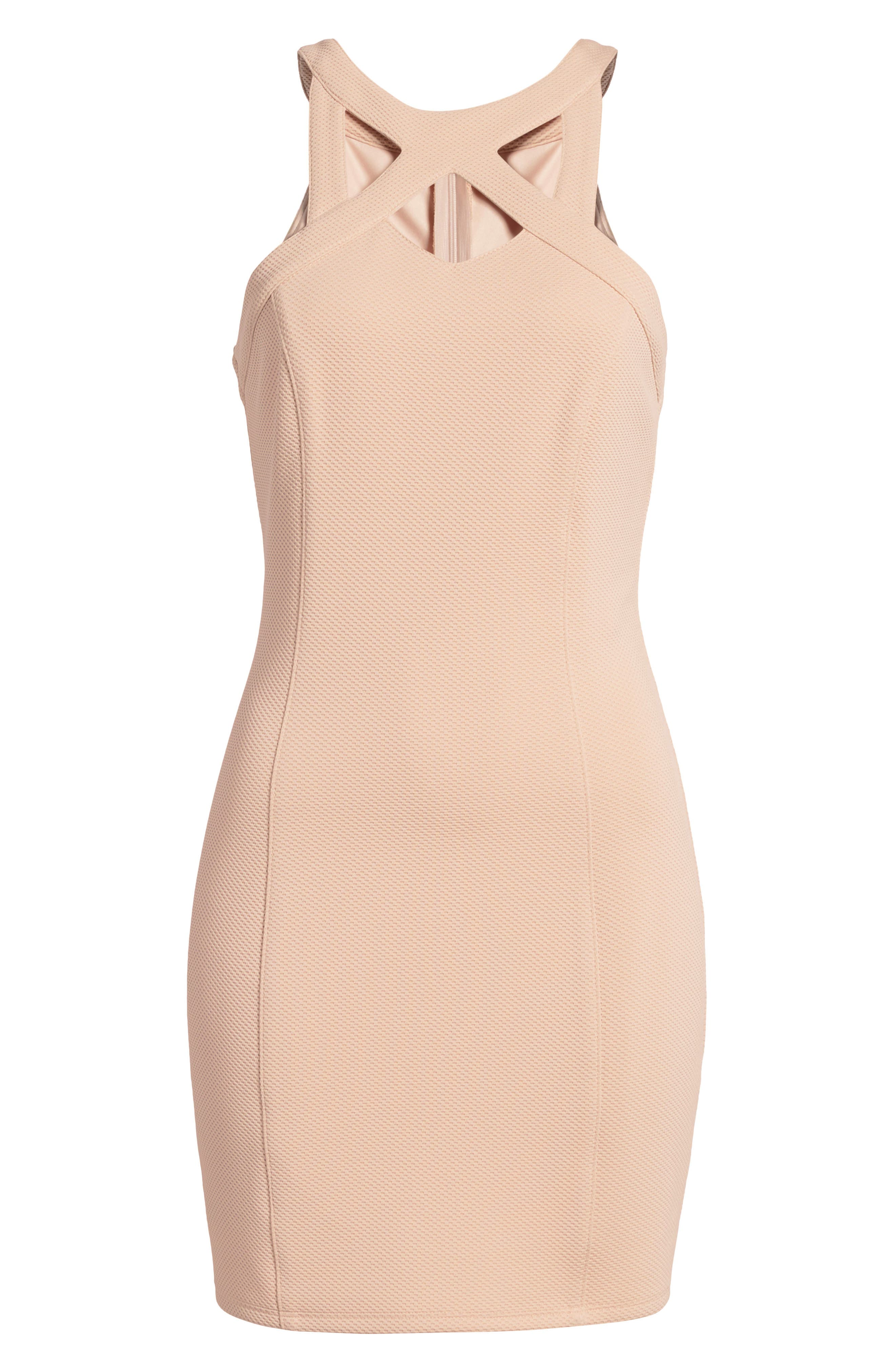 Piqué Body-Con Dress,                             Alternate thumbnail 7, color,                             Pale Pink
