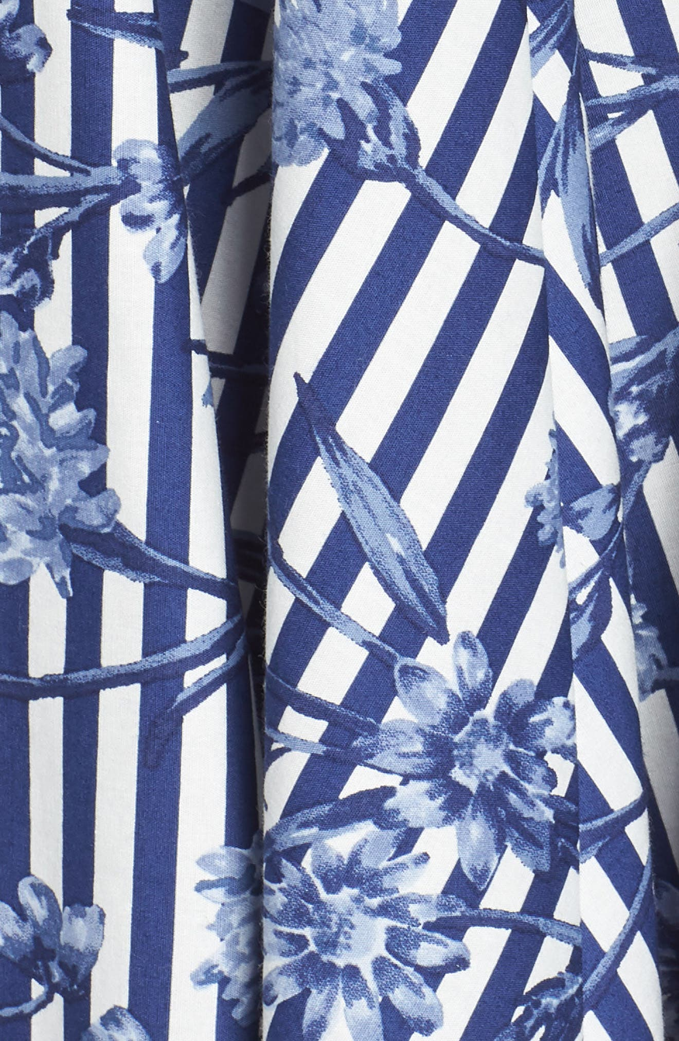 Floral Stripe Halter Fit & Flare Poplin Dress,                             Alternate thumbnail 6, color,                             Blue/ White