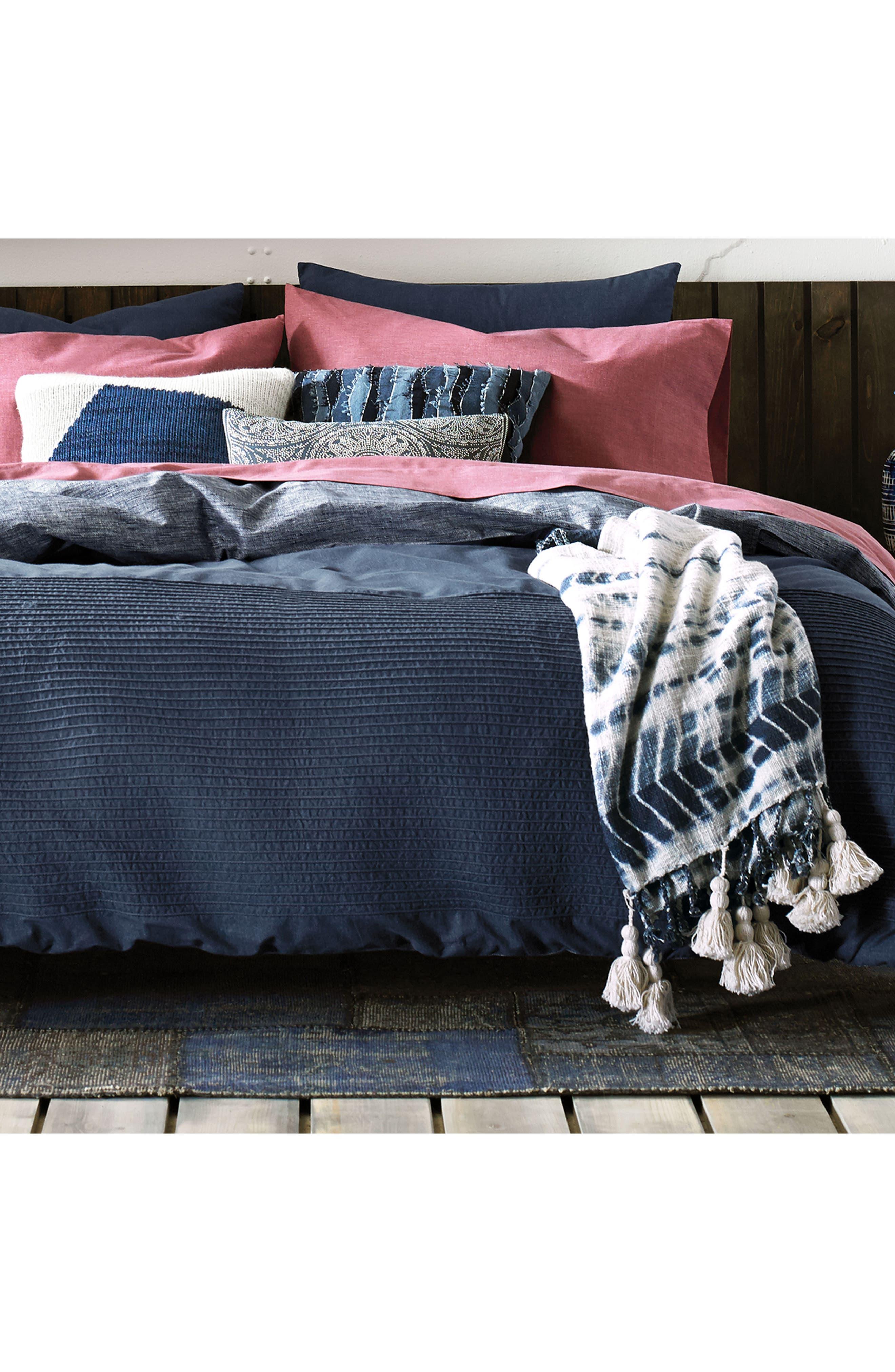 Vintage Pleated Comforter & Sham Set,                             Alternate thumbnail 4, color,                             Denim Blue