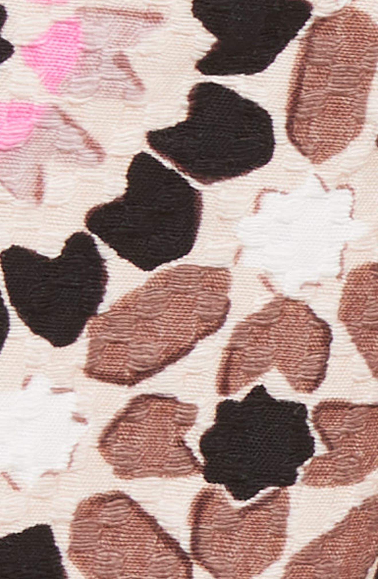 floral mosaic jacquard shorts,                             Alternate thumbnail 5, color,                             Pearl Pink Multi