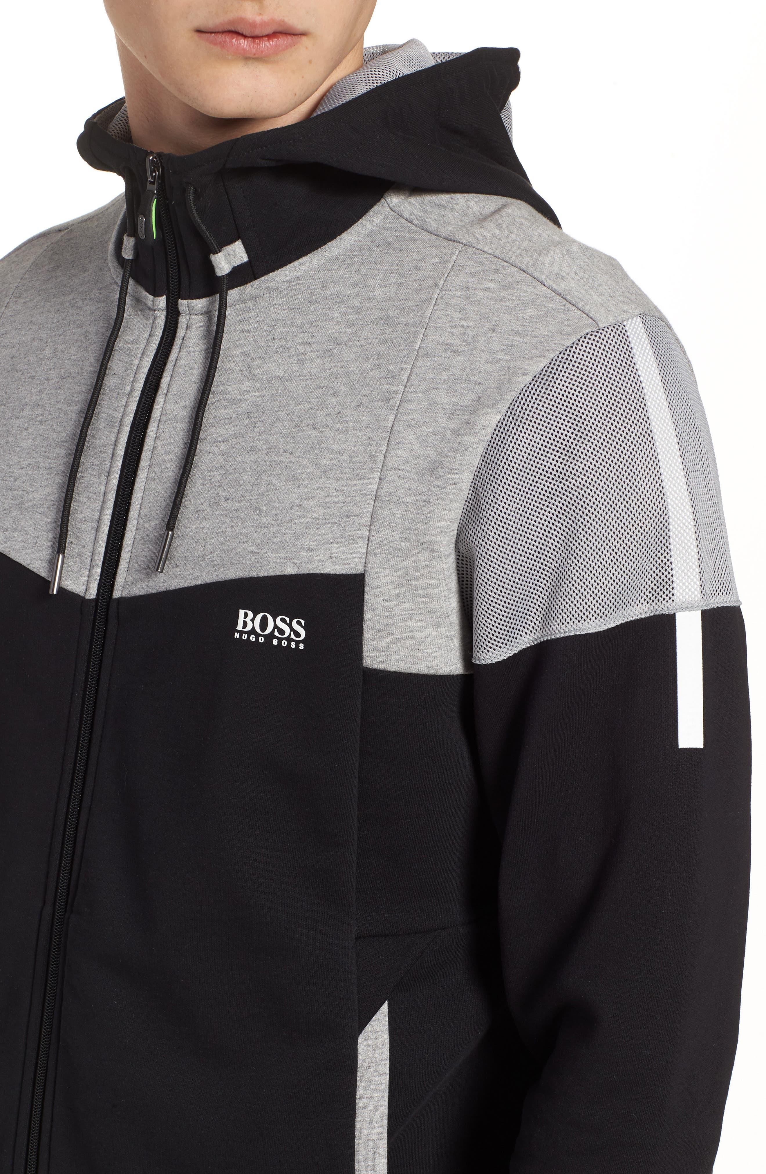 Regular Fit Hooded Fleece Jacket,                             Alternate thumbnail 4, color,                             Black