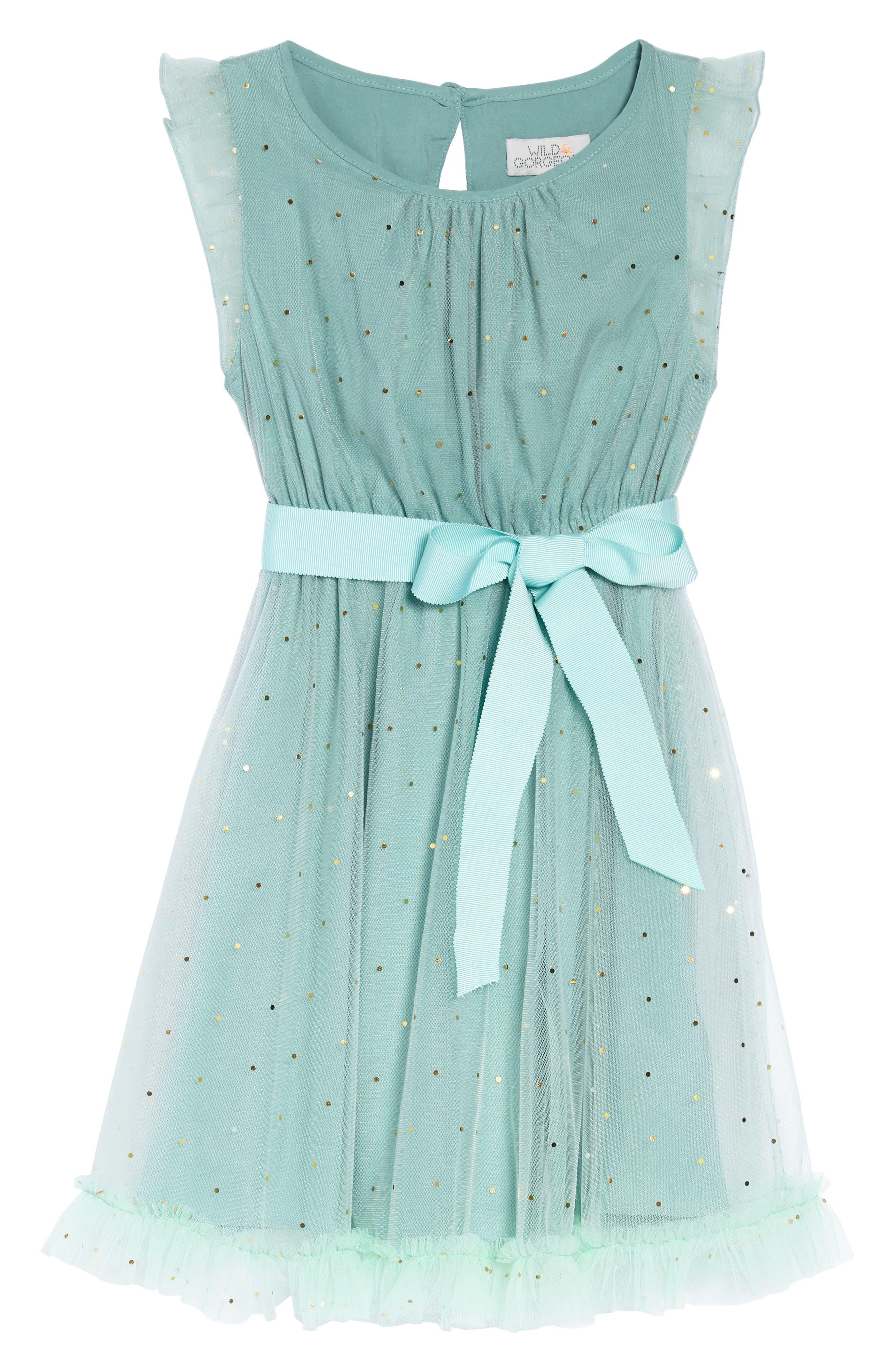 Christina Dot Tulle Fit & Flare Dress,                             Main thumbnail 1, color,                             Aqua