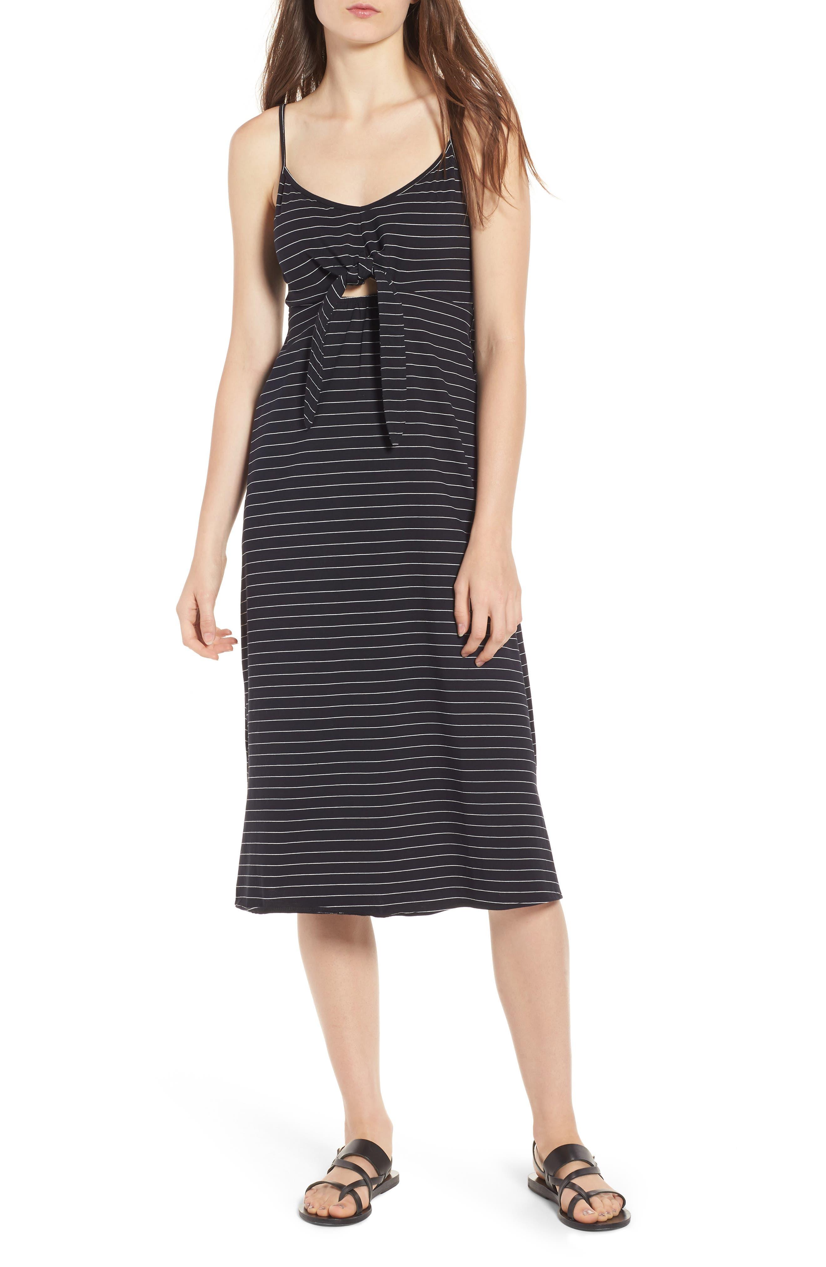 Suzanne Knot Front Dress,                             Main thumbnail 1, color,                             Black