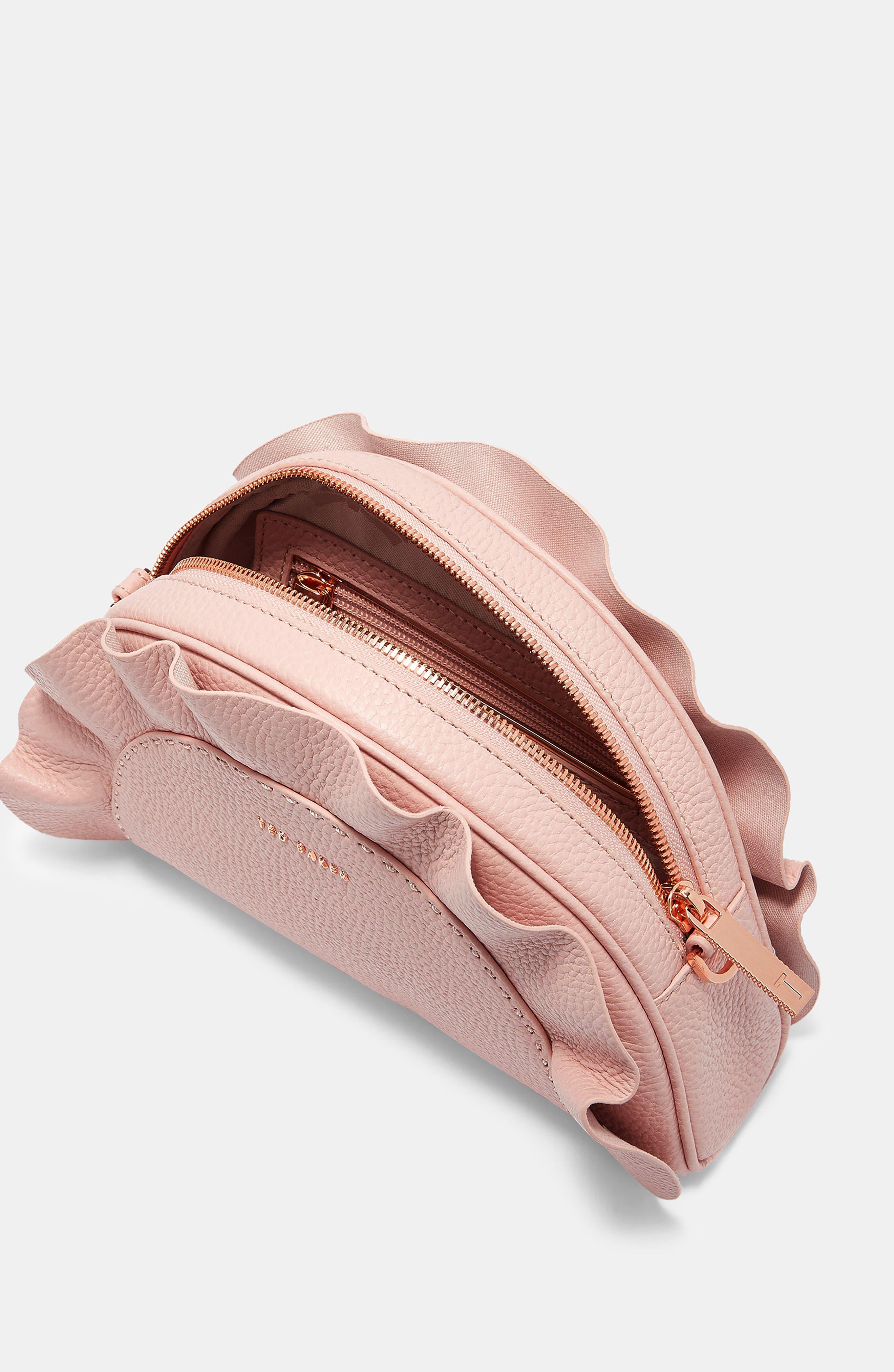 Ruffle Half Moon Leather Crossbody Bag,                             Alternate thumbnail 4, color,                             Light Pink