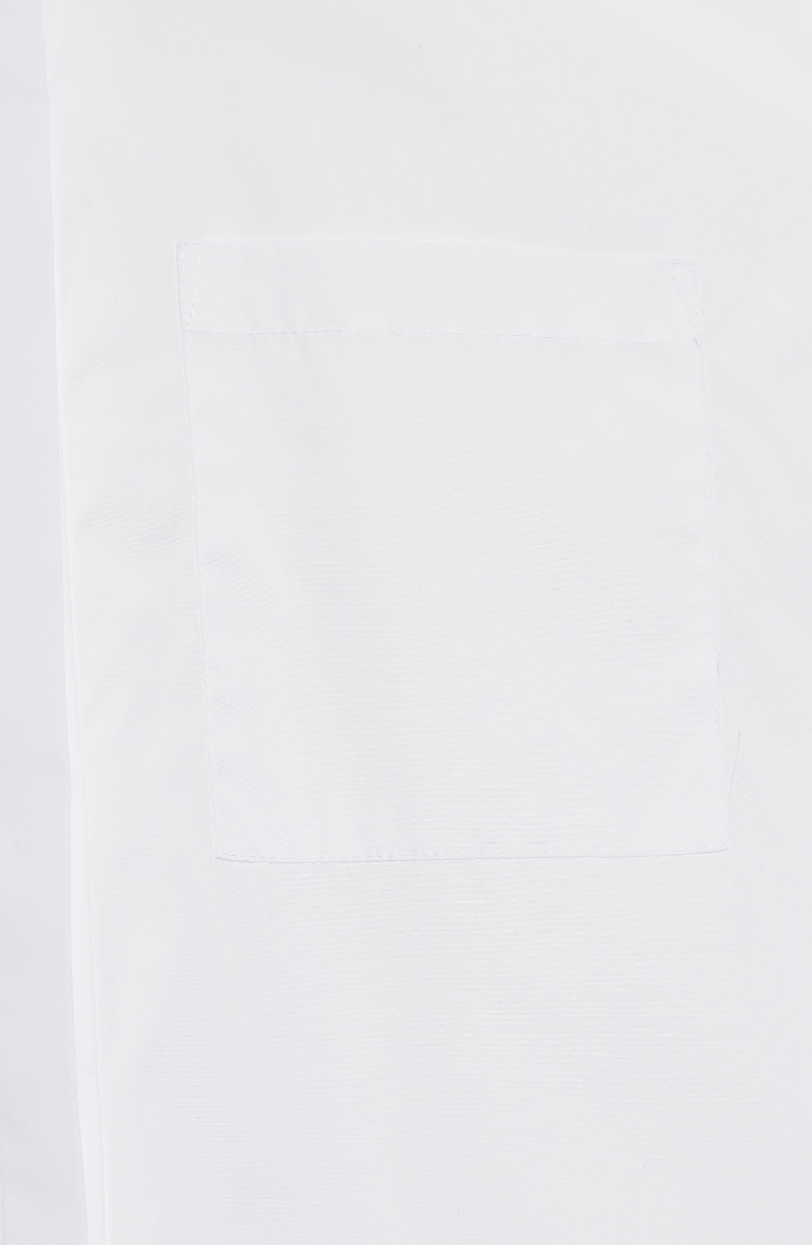 Popper Sleeve Boxy Shirt,                             Alternate thumbnail 5, color,                             White