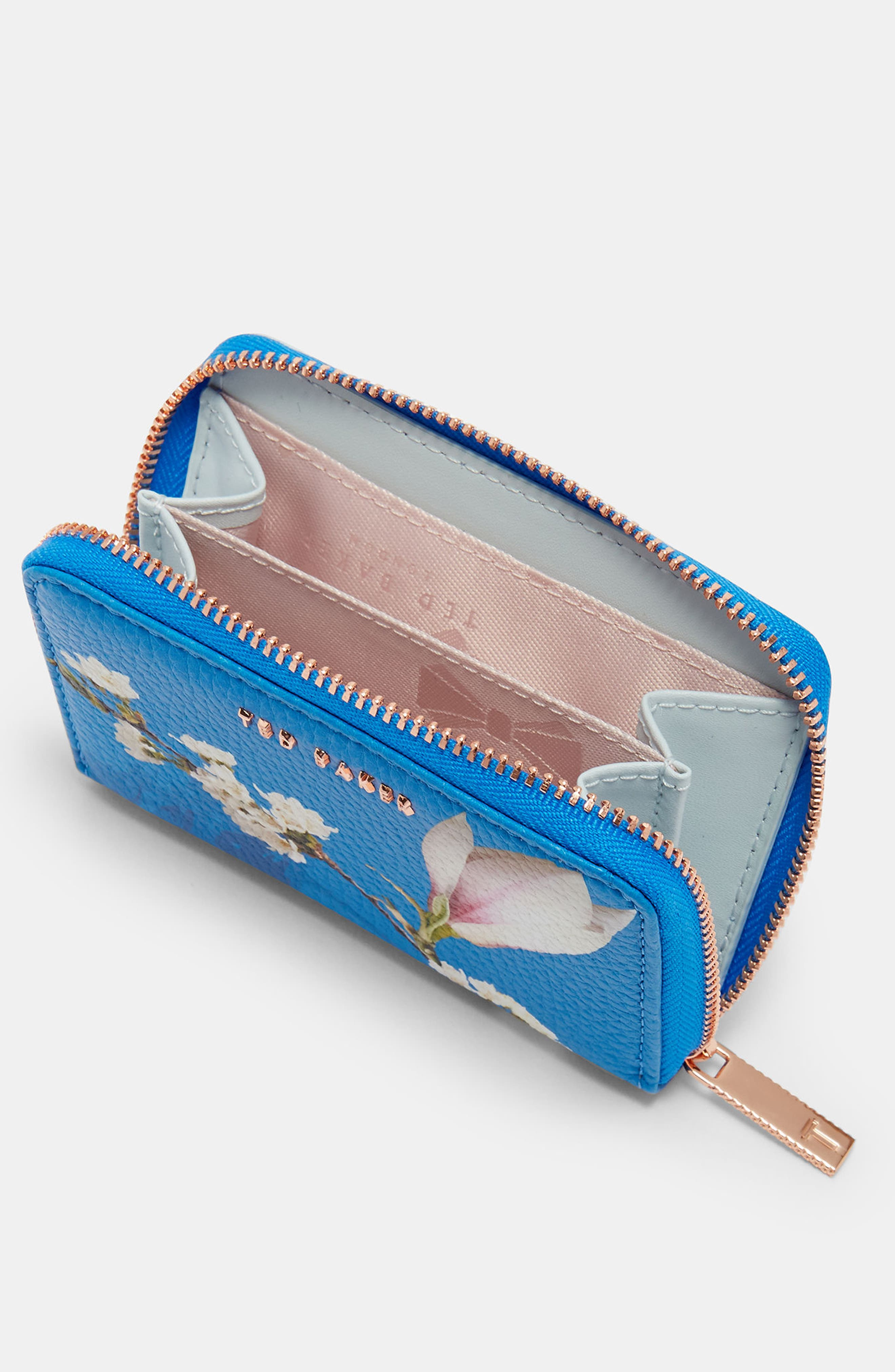 Corri Harmony Print Leather Zip Coin Purse,                             Alternate thumbnail 3, color,                             Bright Blue