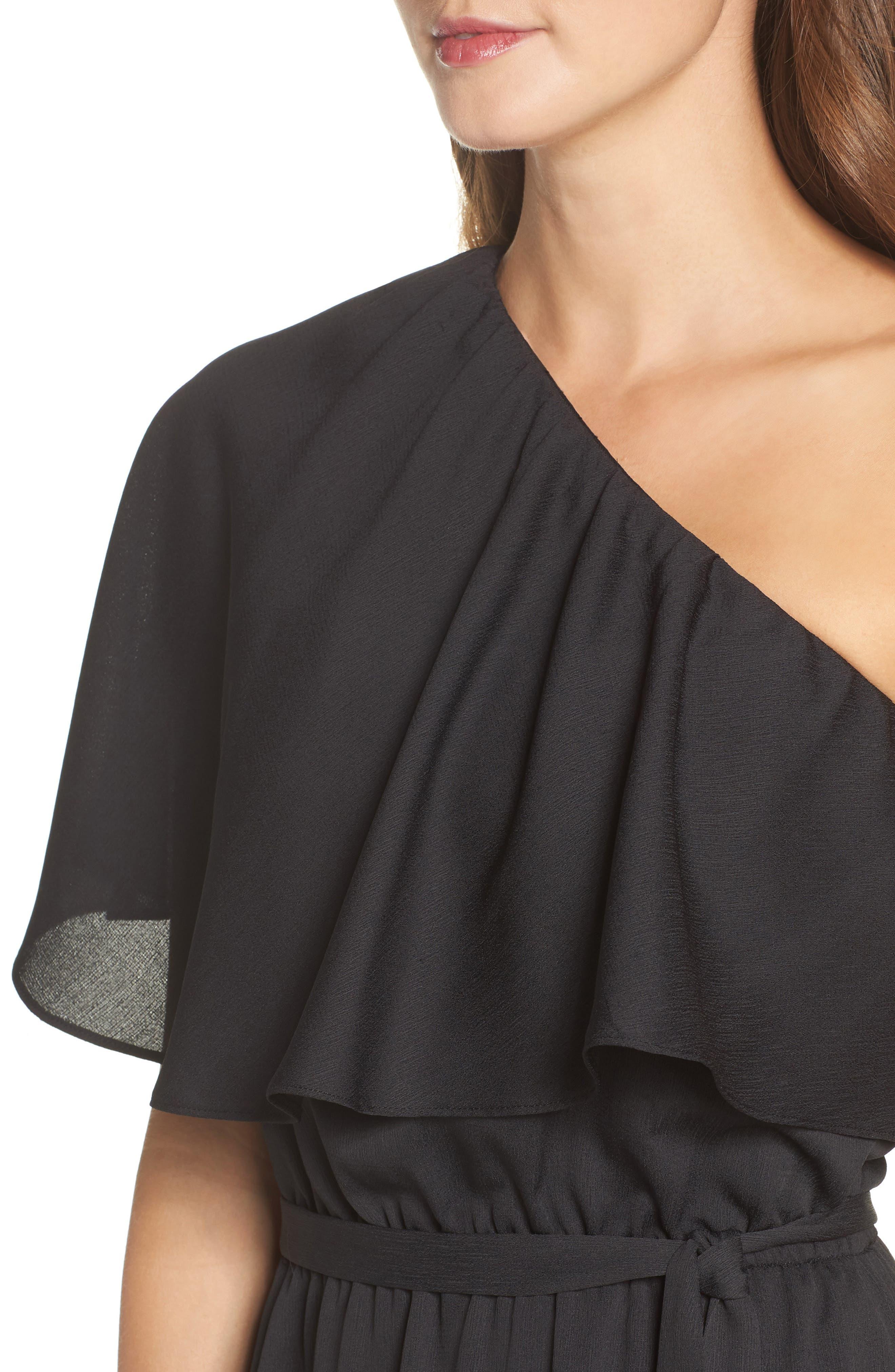 One-Shoulder Asymmetrical Dress,                             Alternate thumbnail 4, color,                             Black