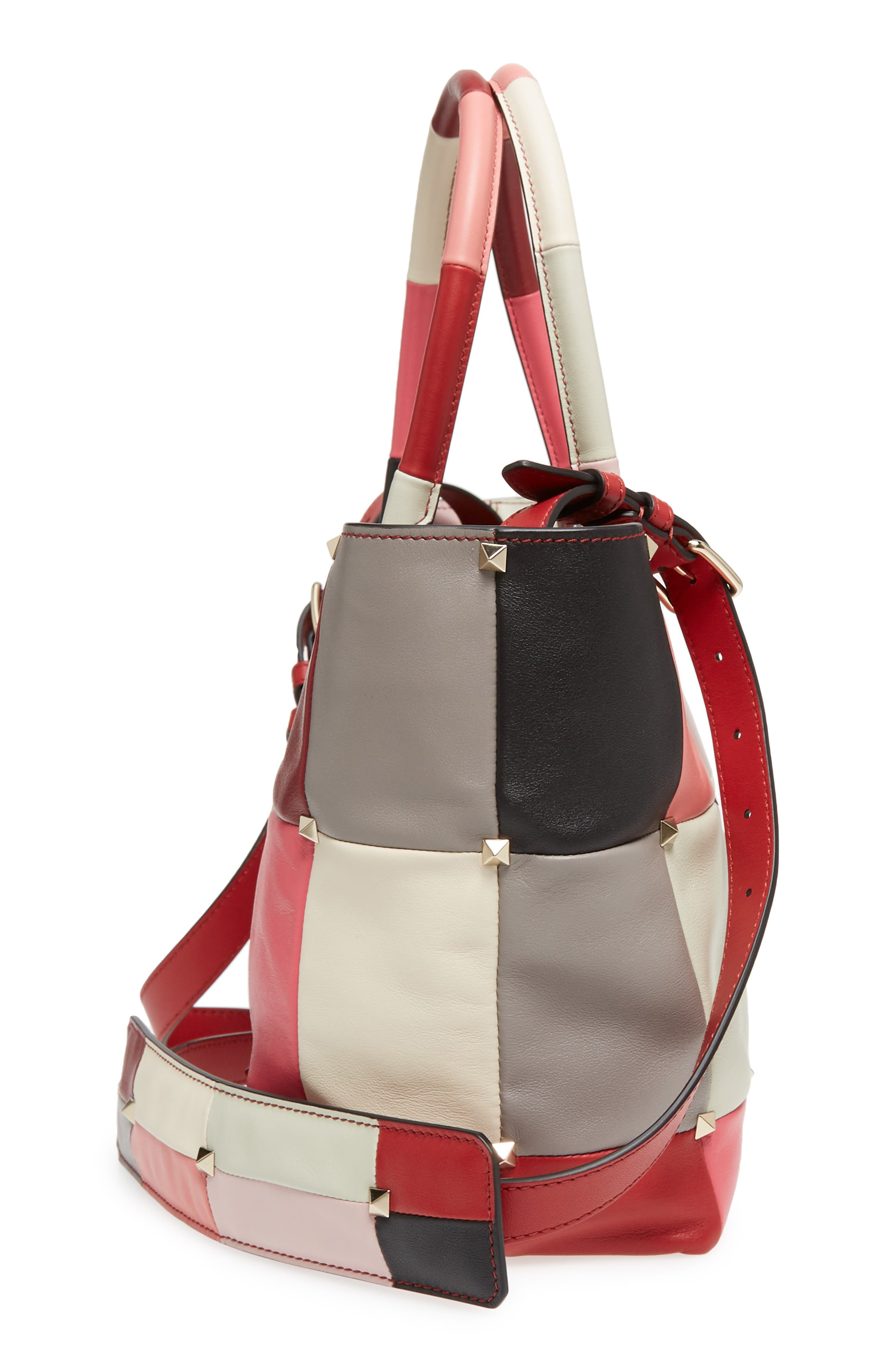 Puzzlestud Small Patchwork Leather Tote,                             Alternate thumbnail 5, color,                             Rose Multicolor