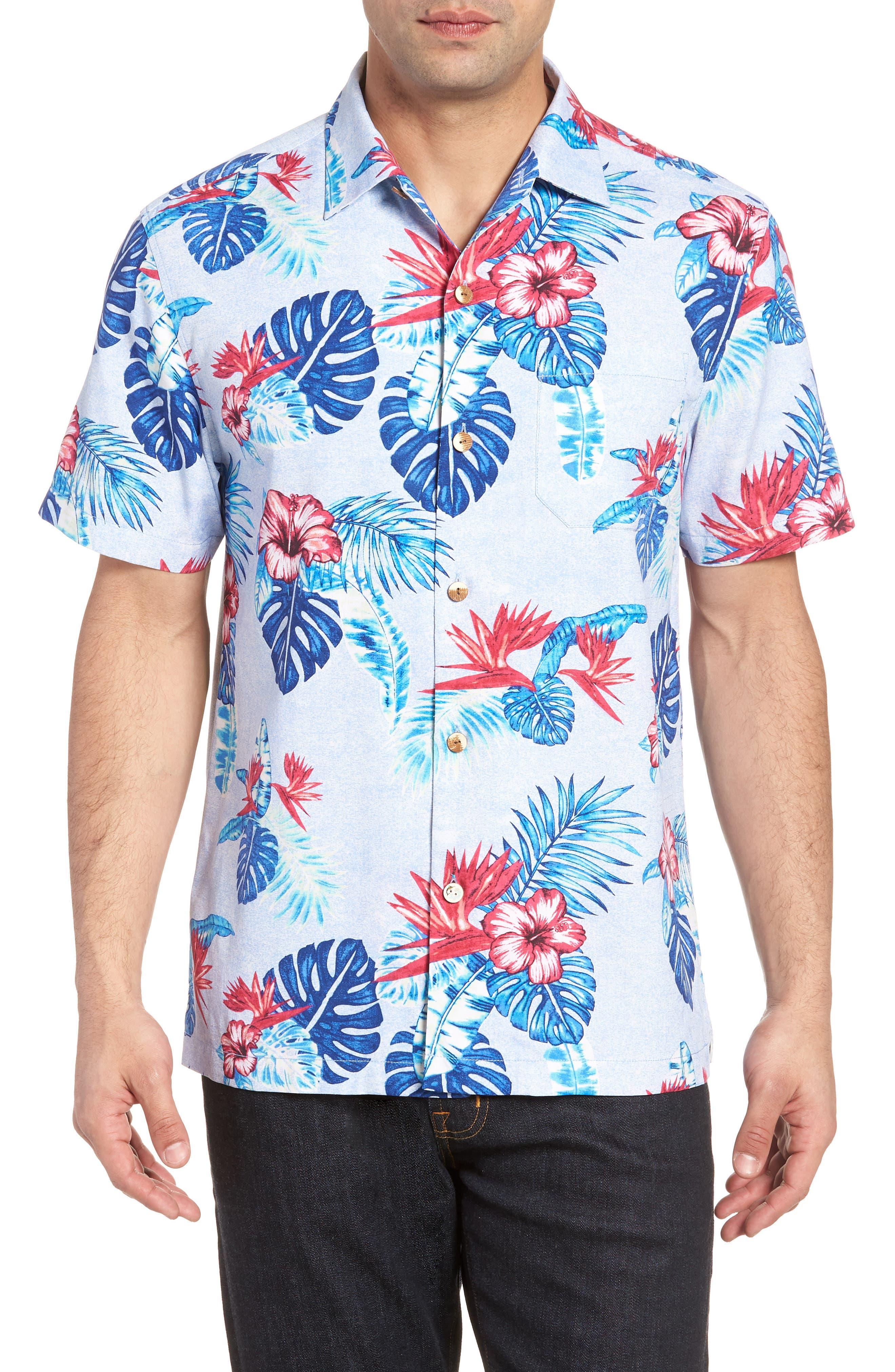 Casa Rosa Floral Print Silk Shirt,                             Main thumbnail 1, color,                             Light Sky