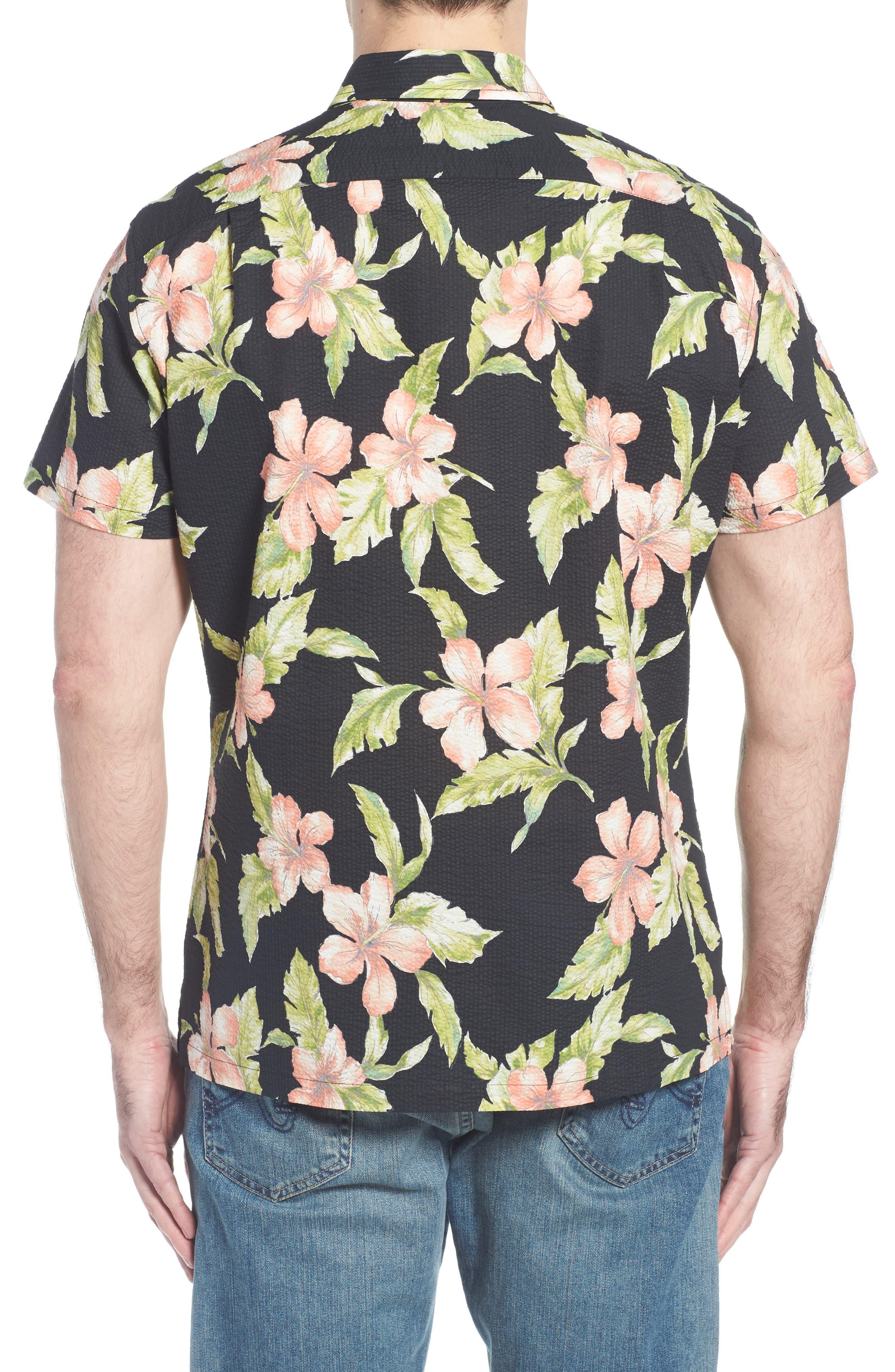 Bahia Trim Fit Camp Shirt,                             Alternate thumbnail 4, color,                             Black